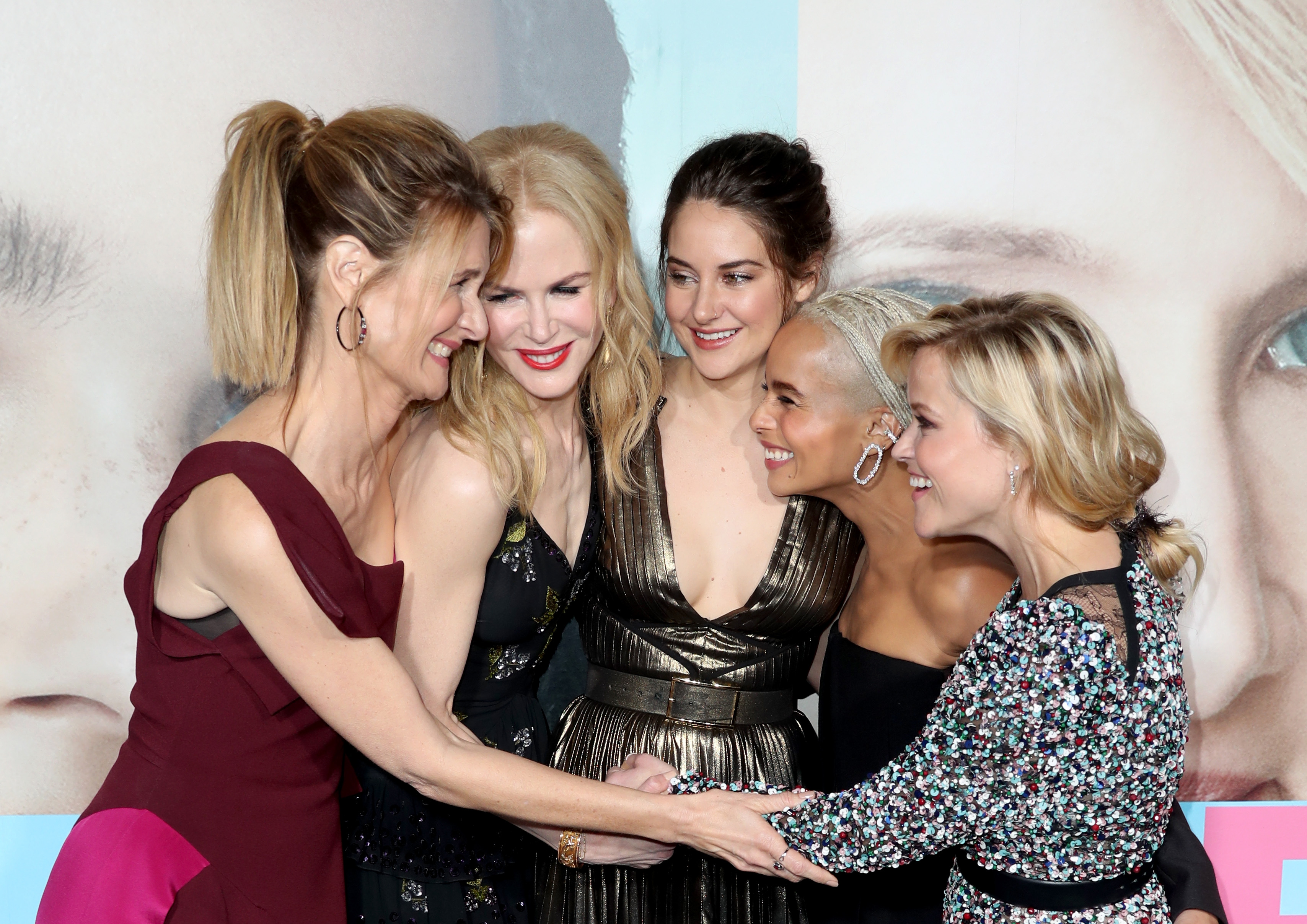 Actors Laura Dern, Nicole Kidman, Shailene Woodley, Zoe Kravitz, and Reese Witherspoon