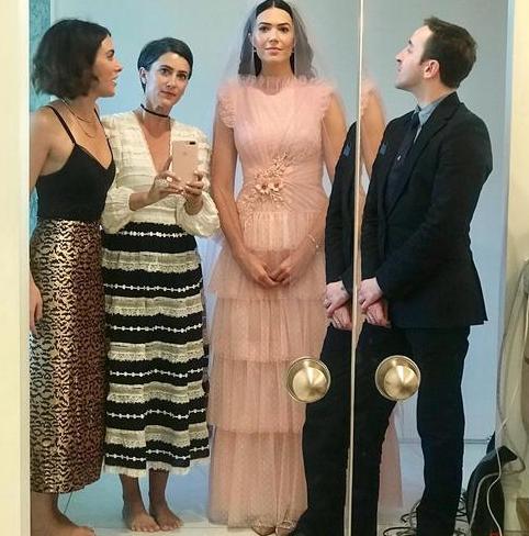 Mandy Moore Wears Pink Retro Wedding Dress See Her Bridal Look