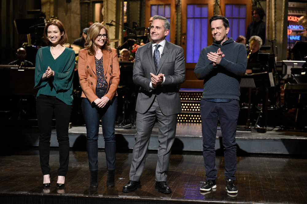 """Ellie Kemper, Jenna Fischer, host Steve Carell, and Ed Helms during the """"Saturday Night Live"""" monologue"""