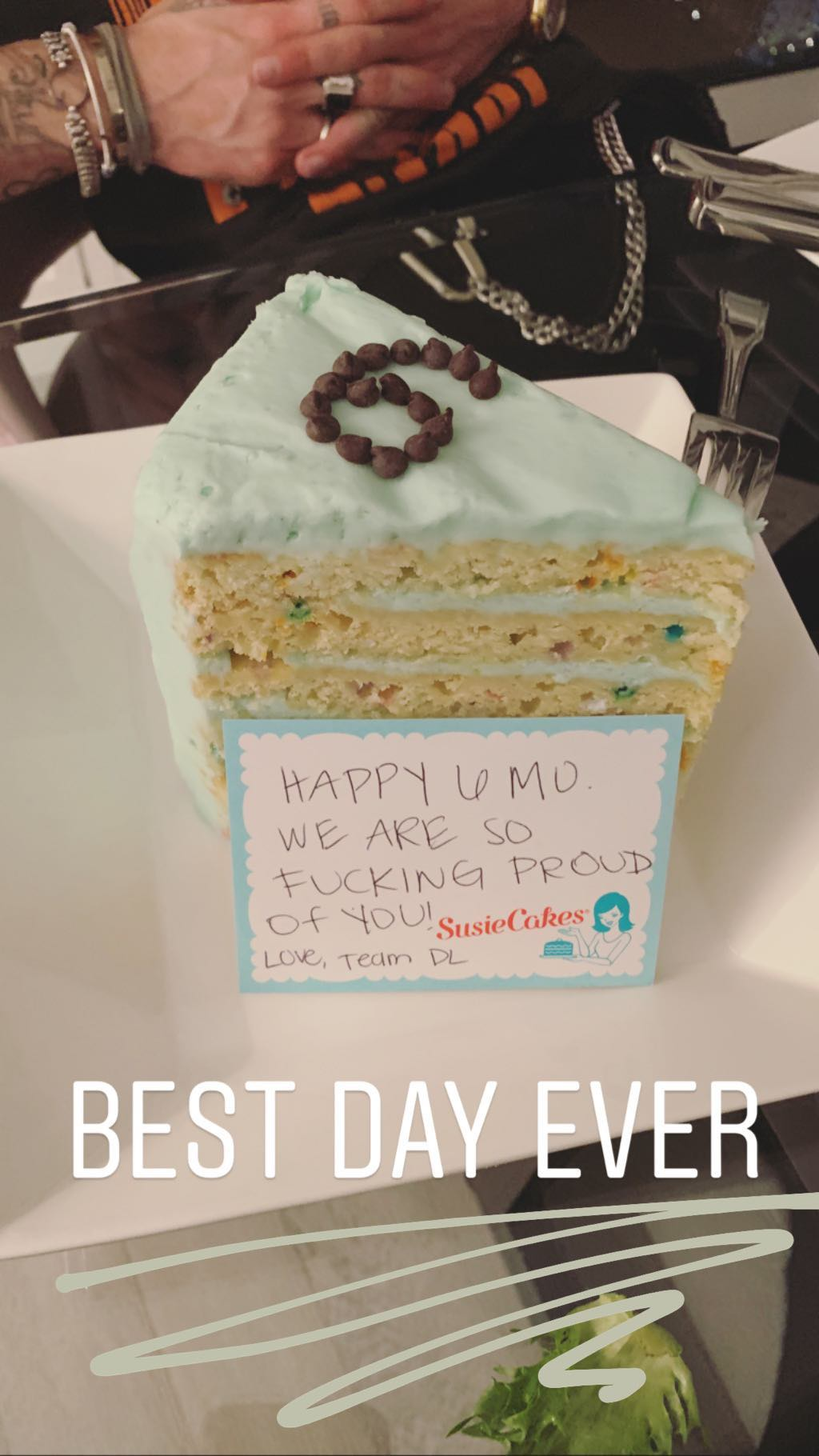 Piece of cake with celebratory message