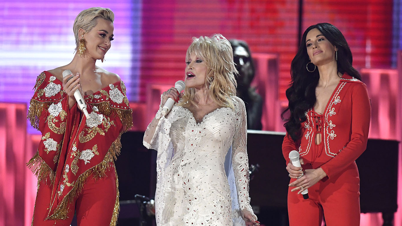 a675af9cf706 Dolly Parton Rocks The Grammys In Special Performance With Miley Cyrus,  Katy Perry, And Maren Morris!