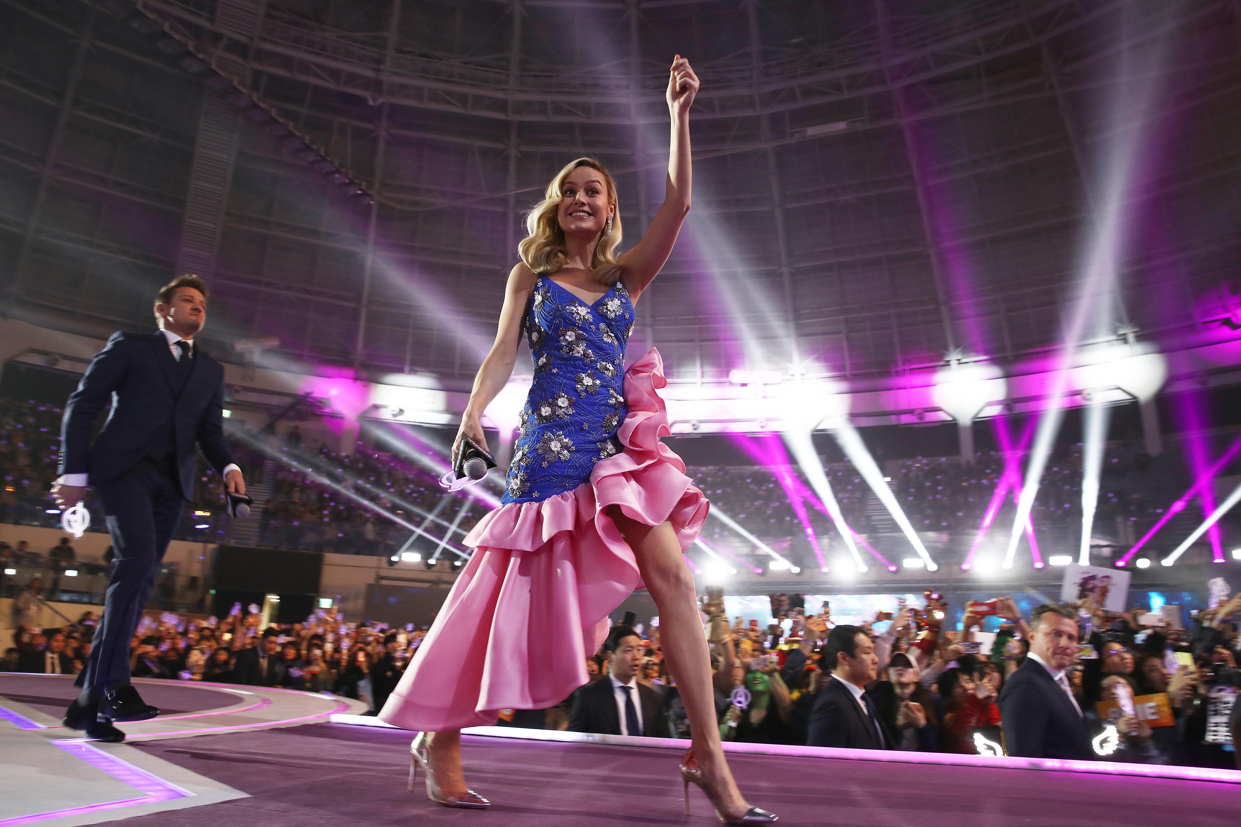 Brie Larson and Jeremy Renner attend the fan event for Marvel Studios' 'Avengers: Endgame'