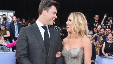 a00e4de1ec Scarlett Johansson Got Touchy Feely With Boyfriend Colin Jost At The   Avengers  Premiere