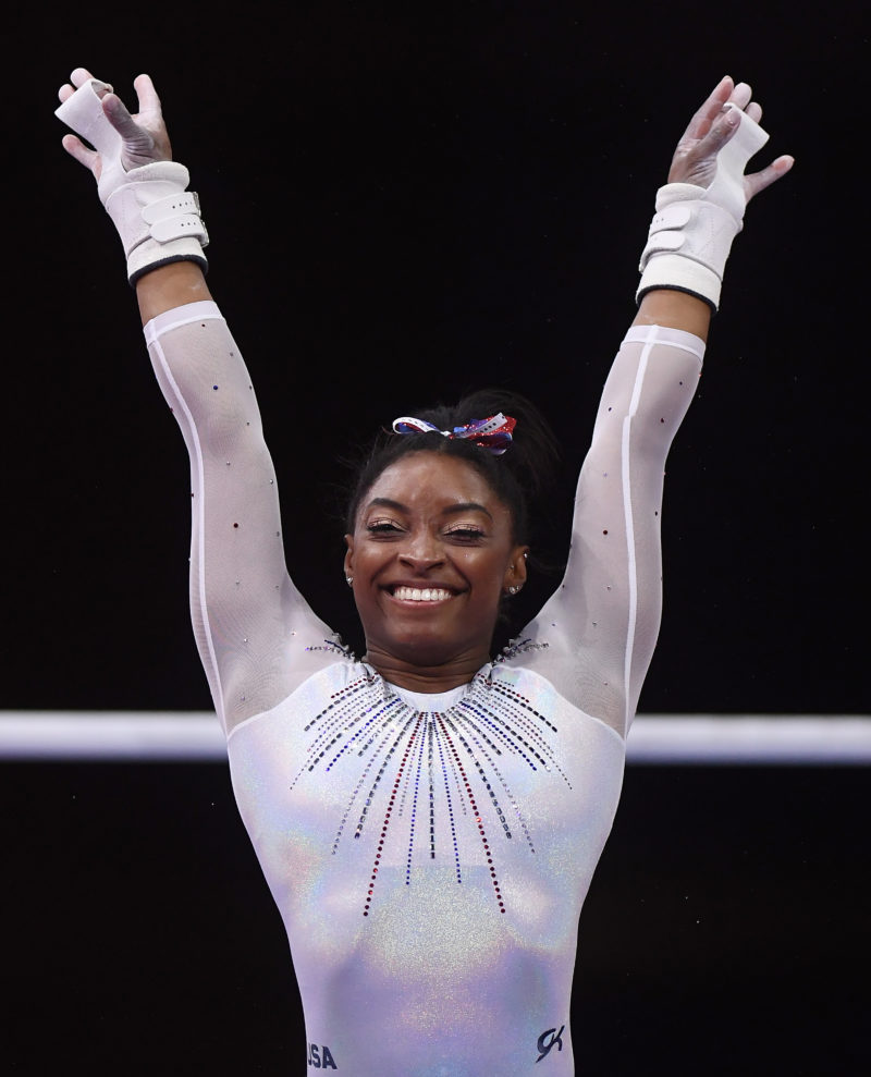 Simone Biles of USA competes on Uneven Bars