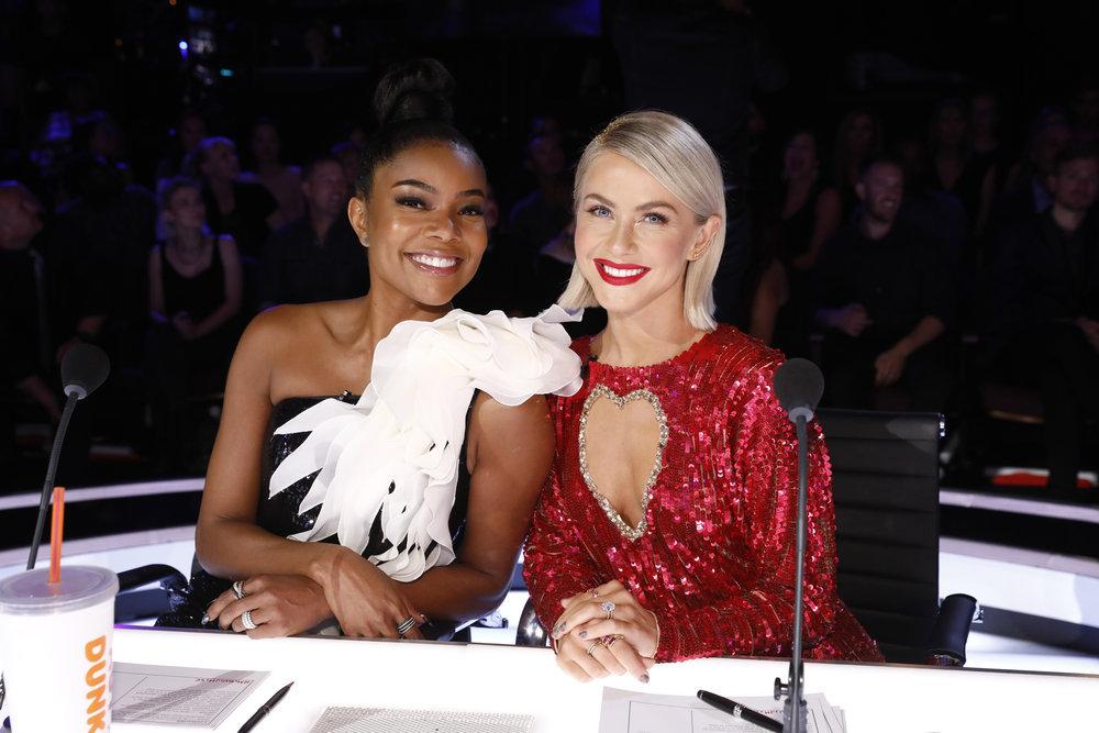 "AMERICA'S GOT TALENT -- ""Live Finals"" Episode 1422 -- Pictured: (l-r) Gabrielle Union, Julianne Hough -- (Photo by: Trae Patton/NBC)"