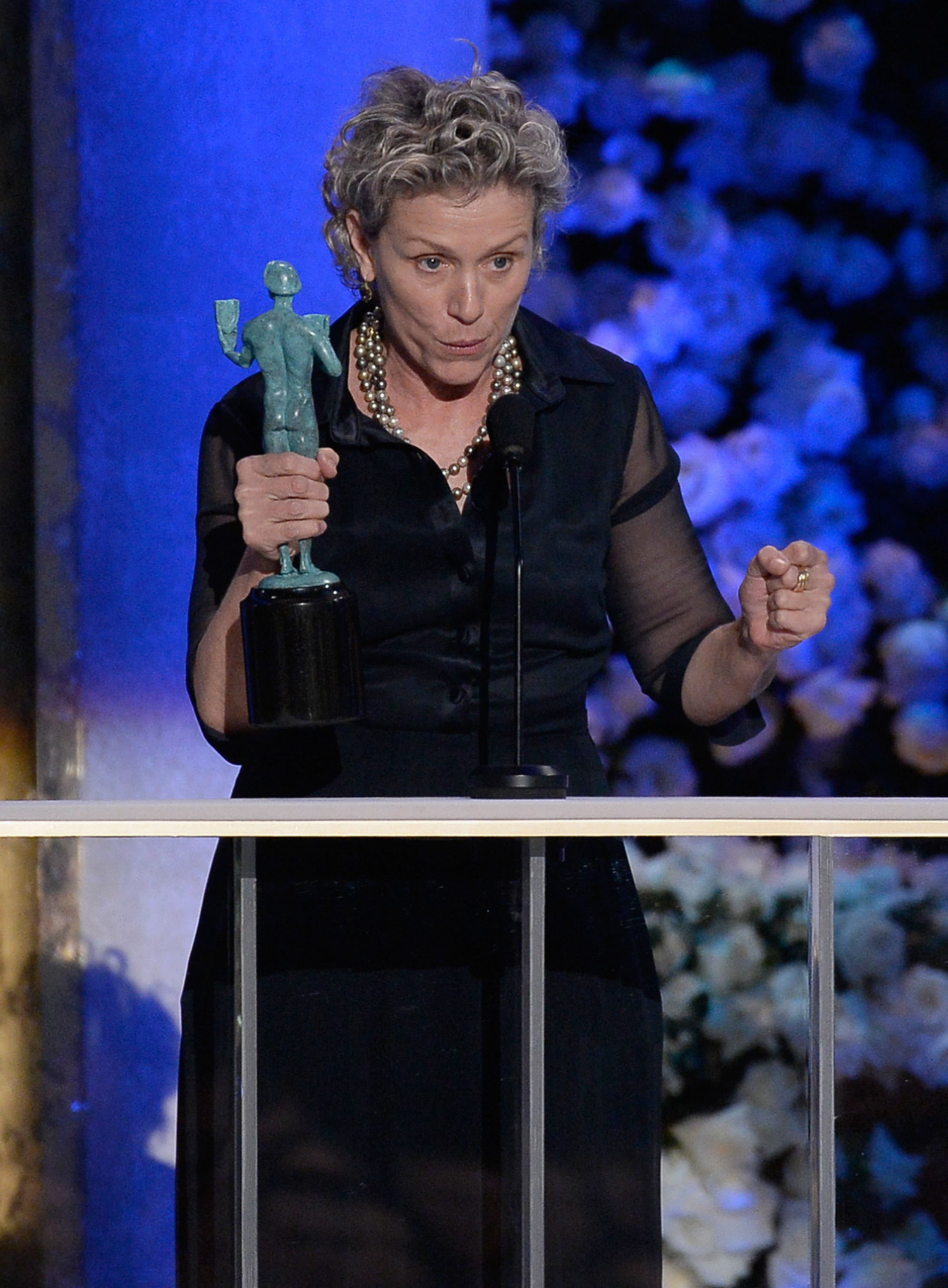 Frances-McDormand-accepts-the-award-for-Outstanding-Performance-by-a-Female-Actor-in-a-Miniseries-or-Television-Movie-onstage-at-the-21st-Annual-Screen-Actors-Guild-Awards-at-The-Shrine-Auditorium-on-January-25-2015-in-Los-Angeles
