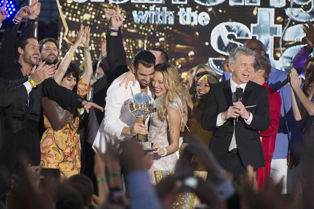 Nyle DiMarco and Peta Murgatroyd celebrate winning 'Dancing with the Stars' Season 22, March 24, 2016