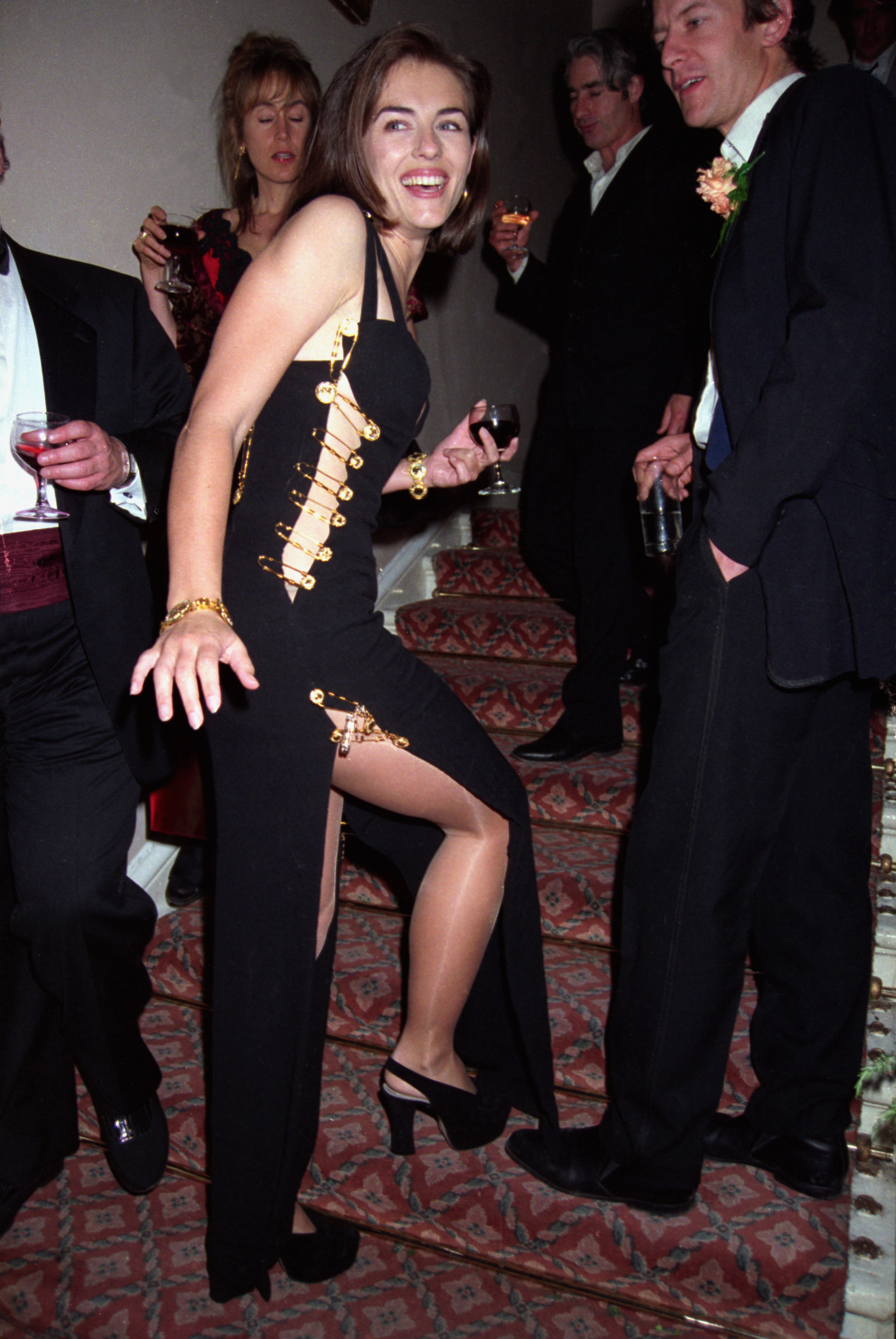 Elizabeth Hurley attends the 'Four Weddings and a Funeral' post-premiere party in London on May 11, 1994