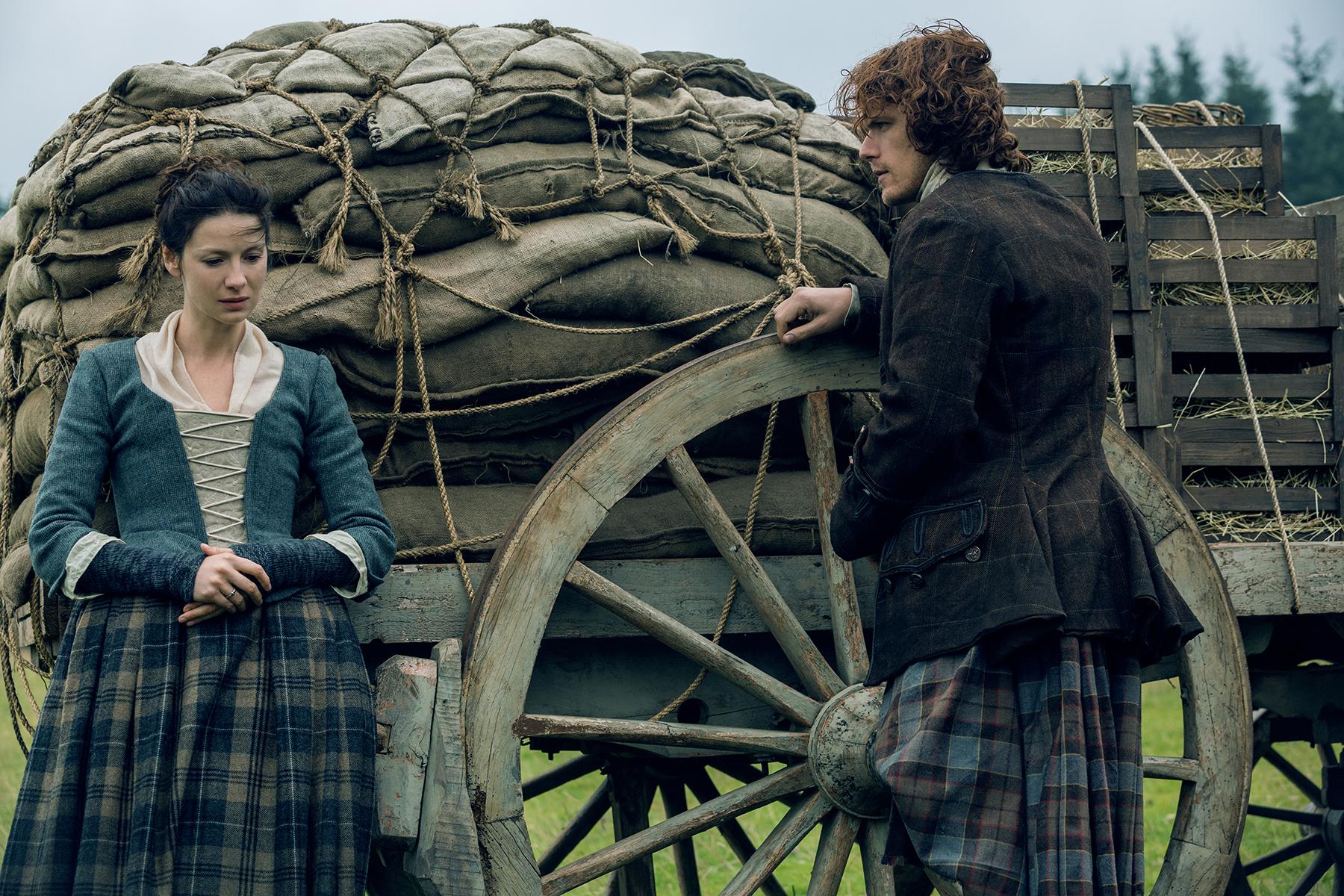 Caitriona Balfe as Claire Fraser and Sam Heughan as Jamie Fraser in 'Outlander' Season 2, Episode 9 — 'Je Suis Prest'