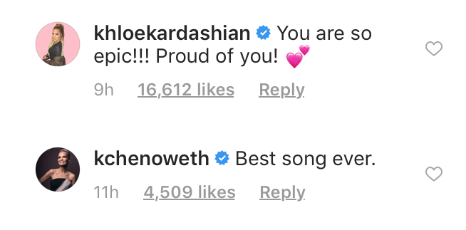 Comments on Ariana Grande's Instagram post, Nov. 4, 2018