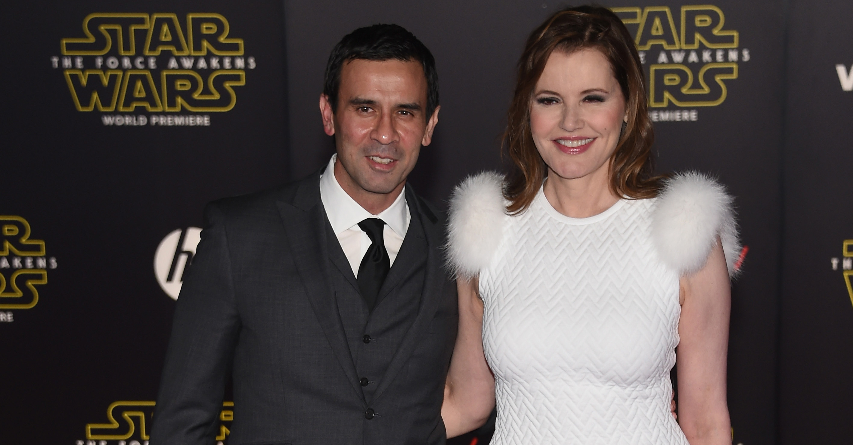 Reza Jarrahy and Geena Davis attend the premiere of Walt Disney Pictures and Lucasfilm's 'Star Wars: The Force Awakens' at the Dolby Theatre on December 14th, 2015 in Hollywood, California. (Photo by Ethan Miller/Getty Images)