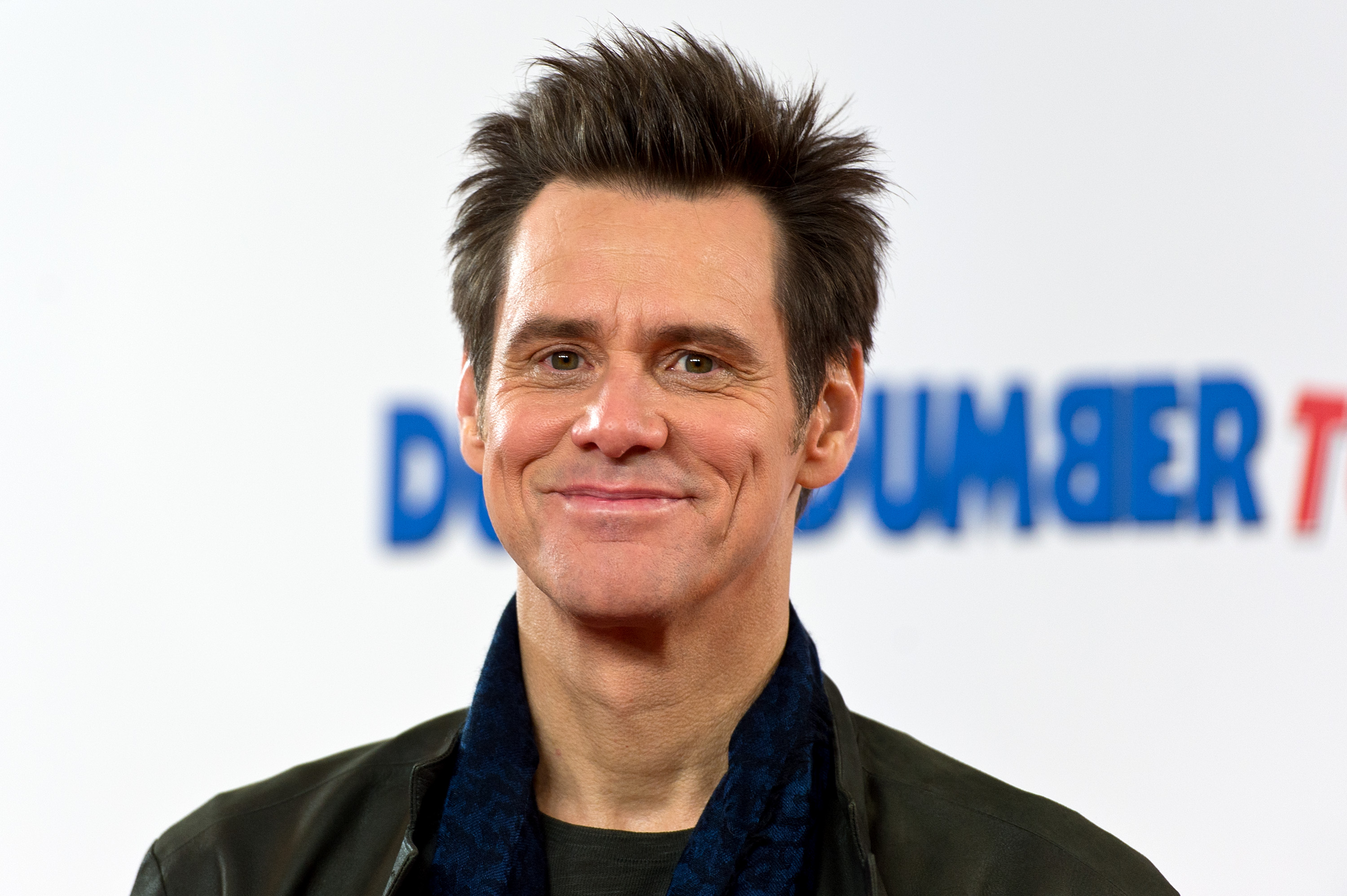 Jim Carrey attends a photocall for 'Dumb and Dumber To' on November 20, 2014 in London
