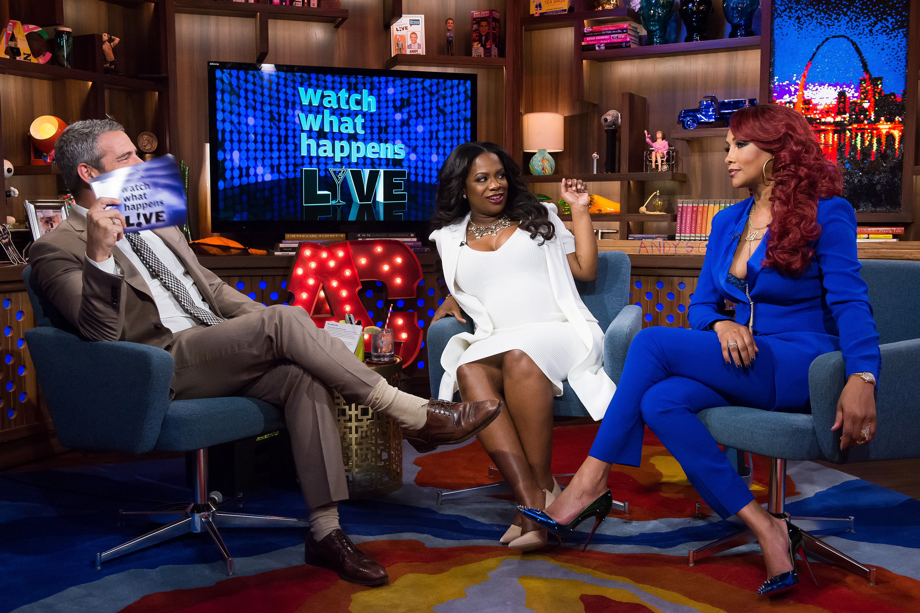 Andy Cohen, Kandi Burruss and Vivica A. Fox on 'Watch What Happens Live' on November 8, 2015