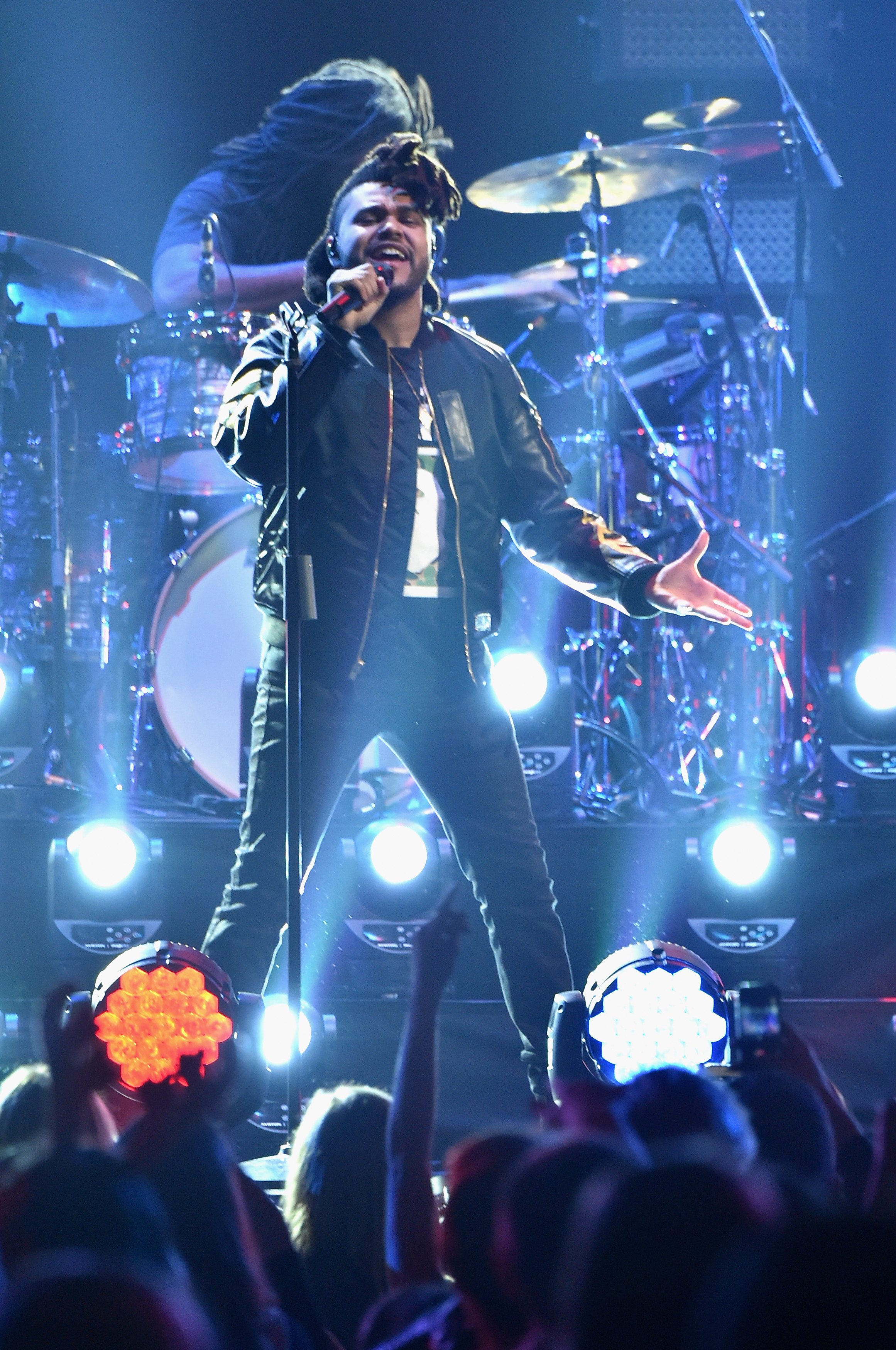 The Weeknd performs onstage during Z100's Jingle Ball 2015 at Madison Square Garden on December 11, 2015 in New York City