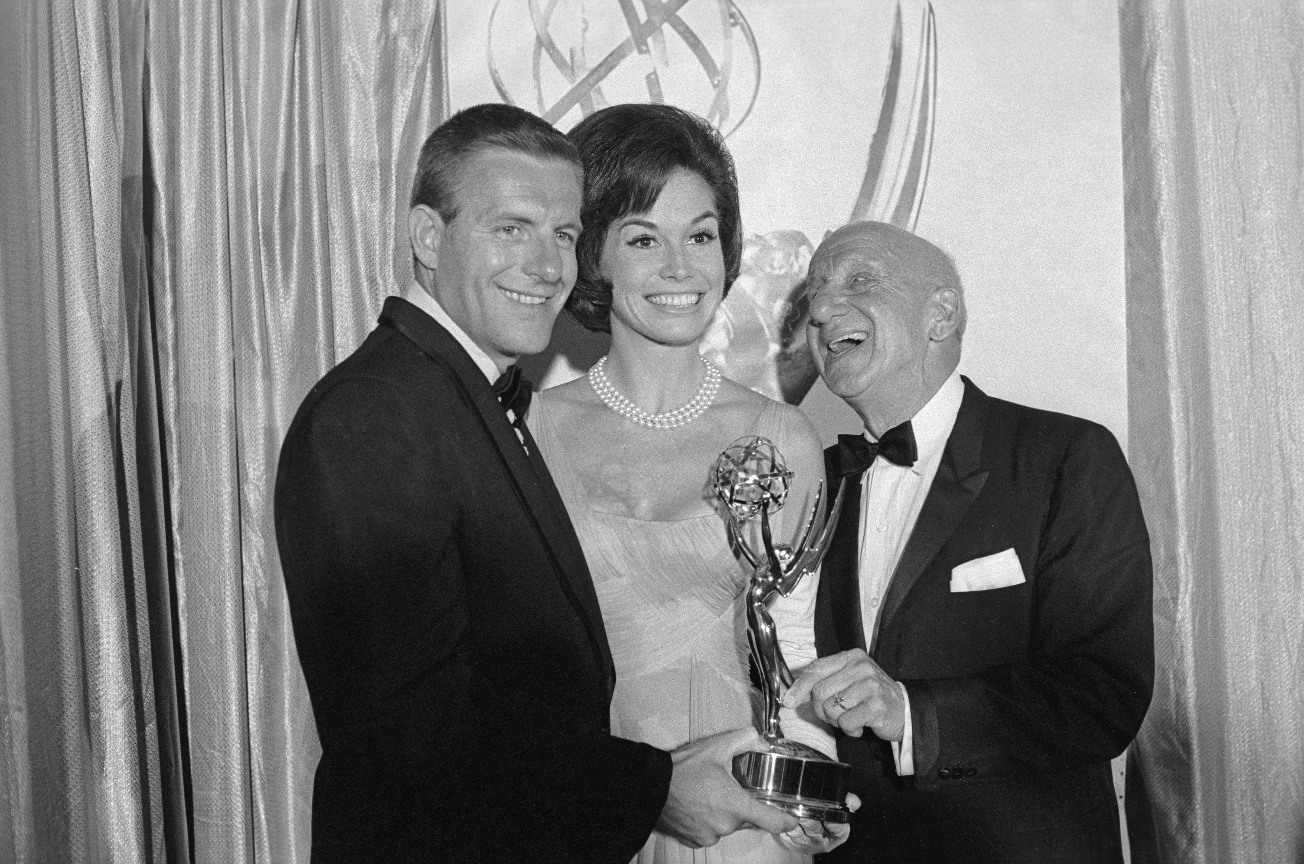 Portrait of Mary Tyler Moore, Jerry Van Dyke and Jimmy Durante