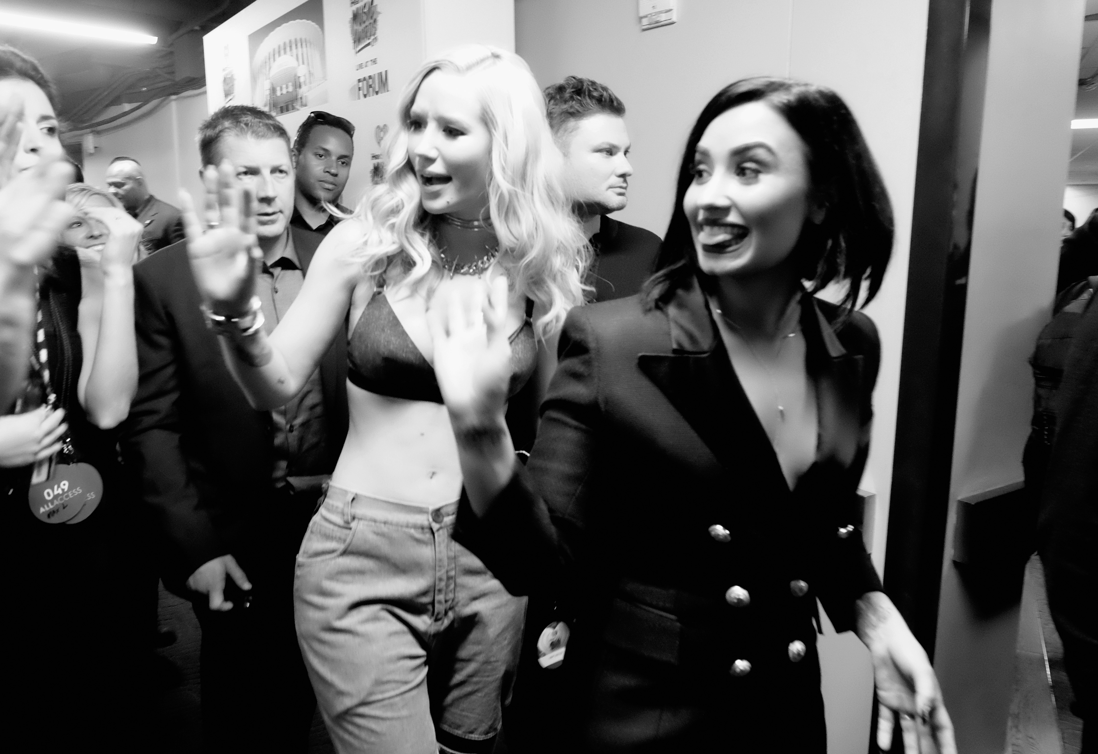 Recording artists Iggy Azalea and Demi Lovato attend the iHeartRadio Music Awards at The Forum on April 3, 2016 in Inglewood, California.