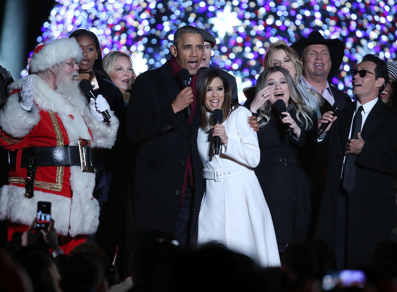 President Barack Obama Lights National Christmas Tree For Final Time ...