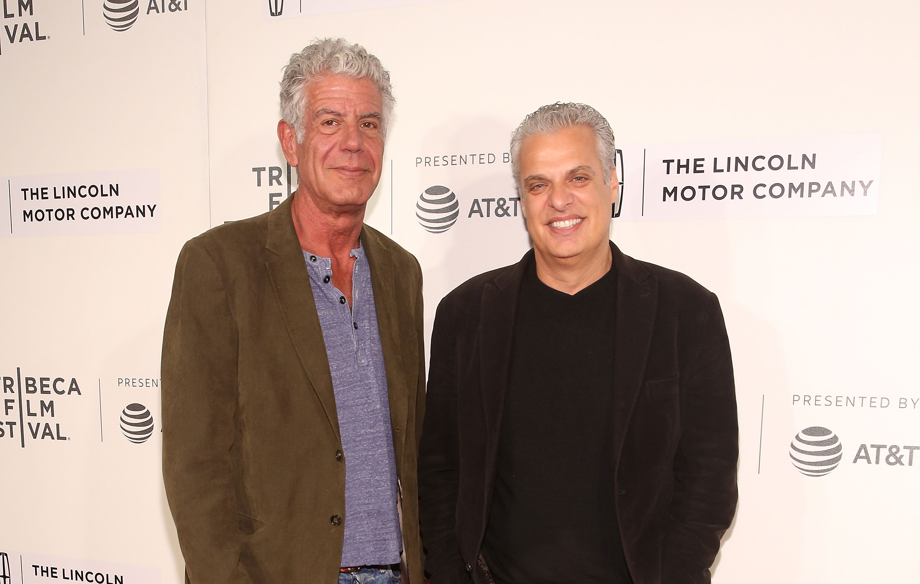 Anthony Bourdain and Eric Ripert attend 'WASTED! The Story of Food Waste' Premiere during 2017 Tribeca Film Festival at BMCC Tribeca PAC on April 22, 2017 in New York City. (Photo by Robin Marchant/Getty Images for Tribeca Film Festival)