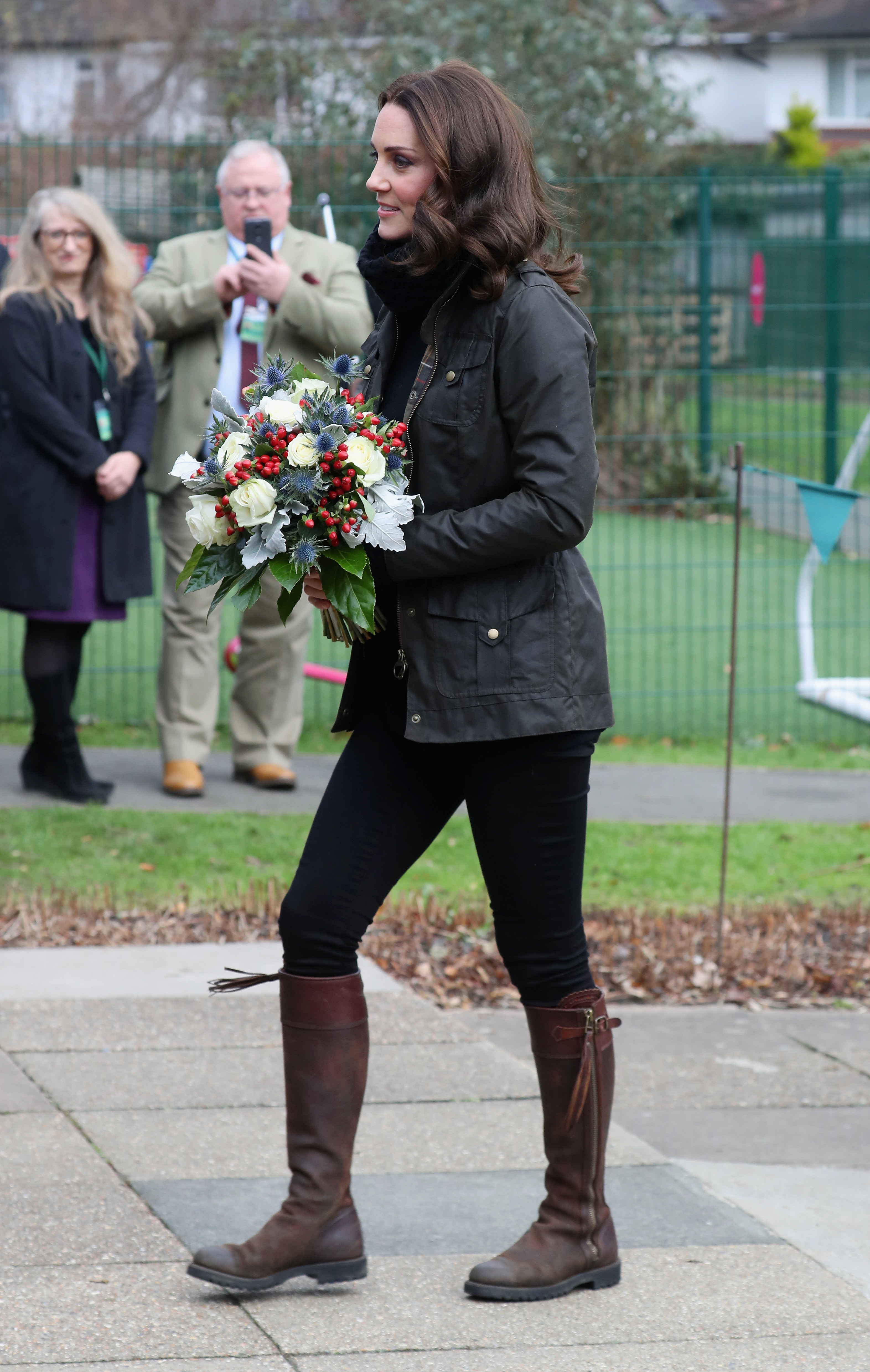 Catherine, Duchess of Cambridge visits the Robin Hood Primary School to celebrate ten years of The Royal Horticultural Society campaign for school gardening on November 29, 2017 in London
