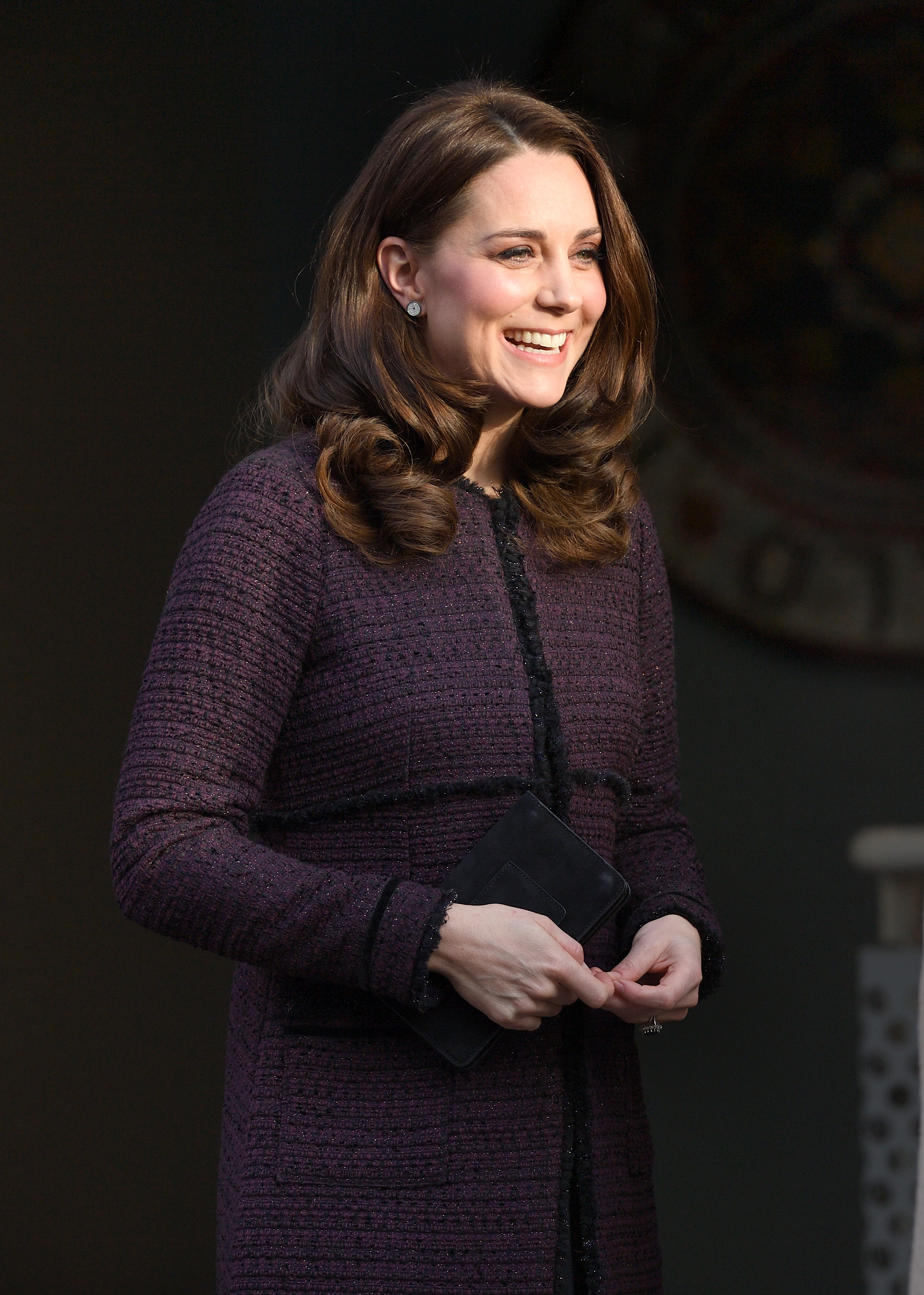 Kate-Middleton-Is-Radiant-In-Plum-Colored-Coat-As-She-Delivers-Presents-To-Kids-In-London