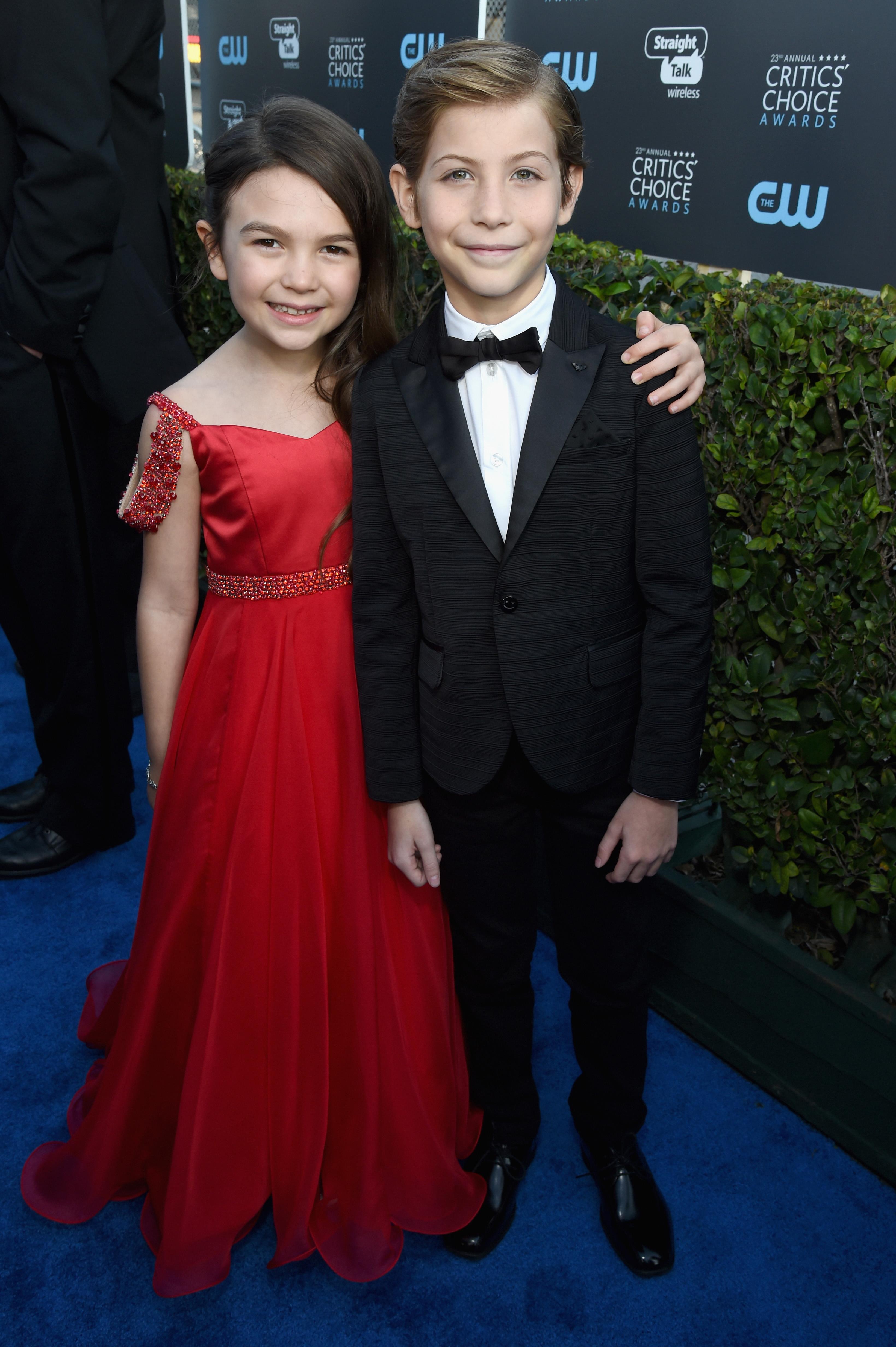 Brooklynn Prince and Jacob Tremblay attend The 23rd Annual Critics' Choice Awards at Barker Hangar on January 11, 2018 in Santa Monica, Calif