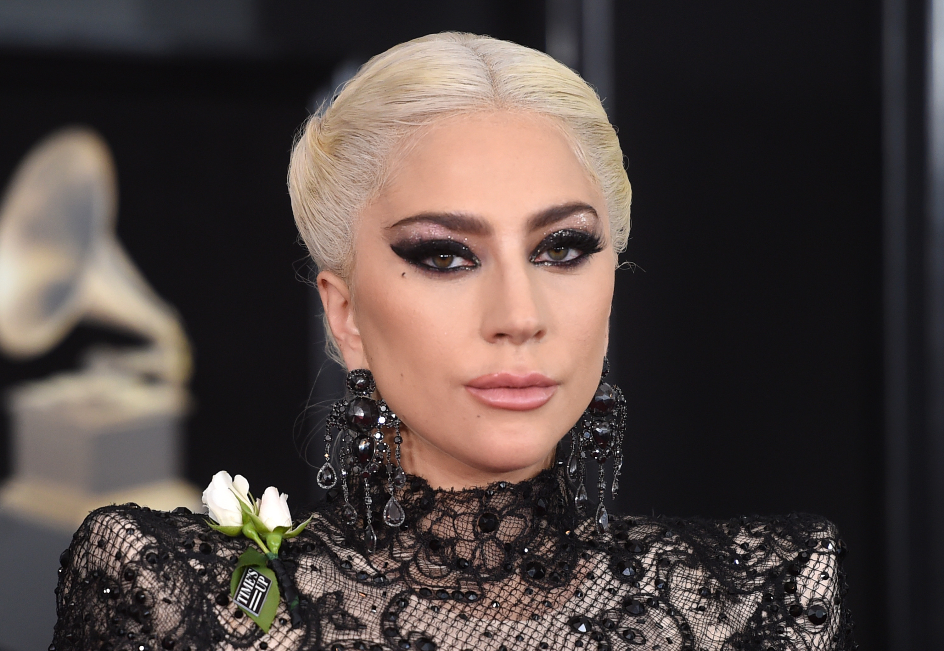 Lady-Gaga-Wows-In-Black-Lace-Ball-Gown-Bodysuit-Combo-At-2018-Grammy-Awards