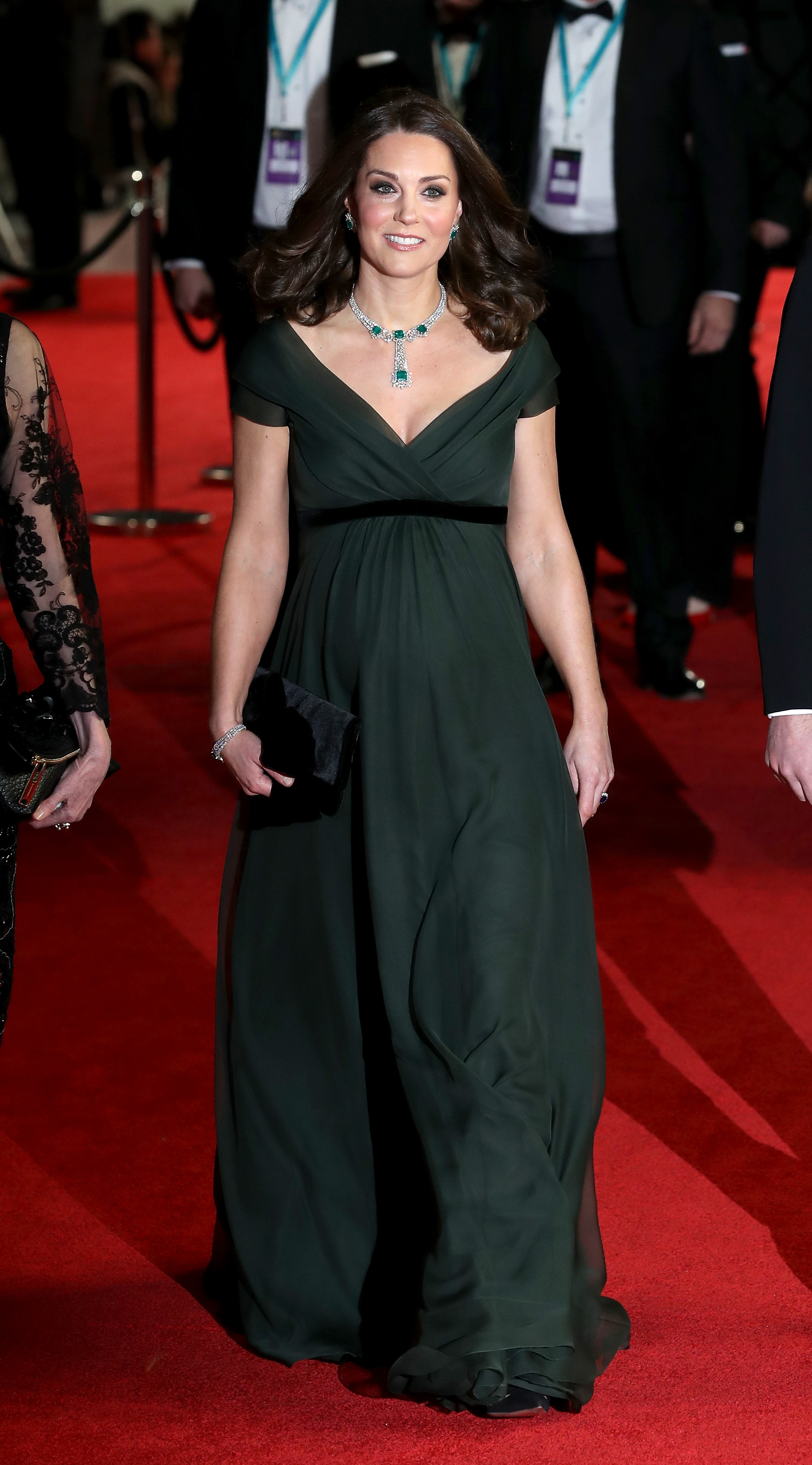Kate Middleton Opts For Dark Green Jenny Packham Gown At The BAFTAs ... 134ef9ba2