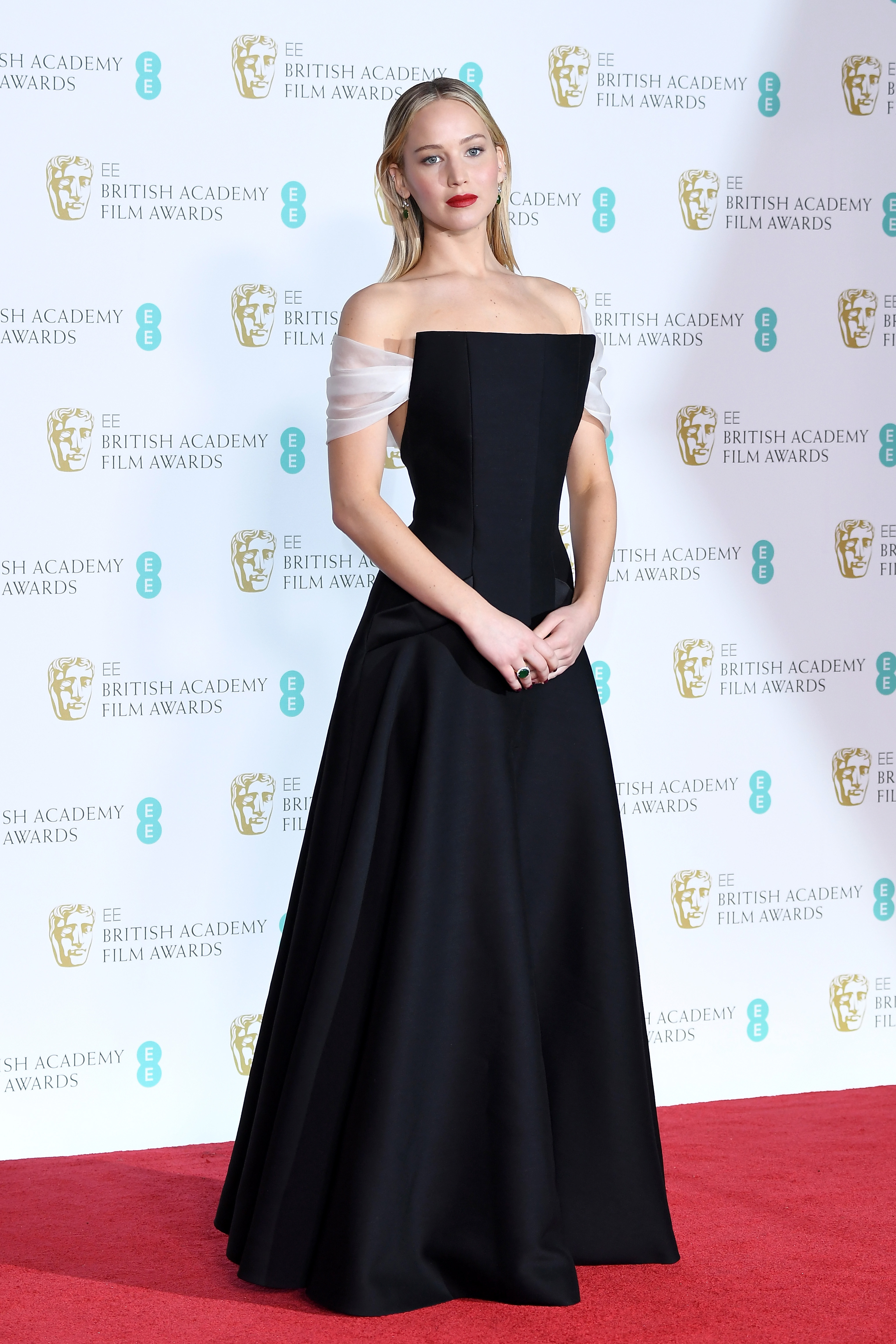 Jennifer Lawrence poses in the press room during the EE British Academy Film Awards (BAFTA) held at Royal Albert Hall on February 18, 2018 in London
