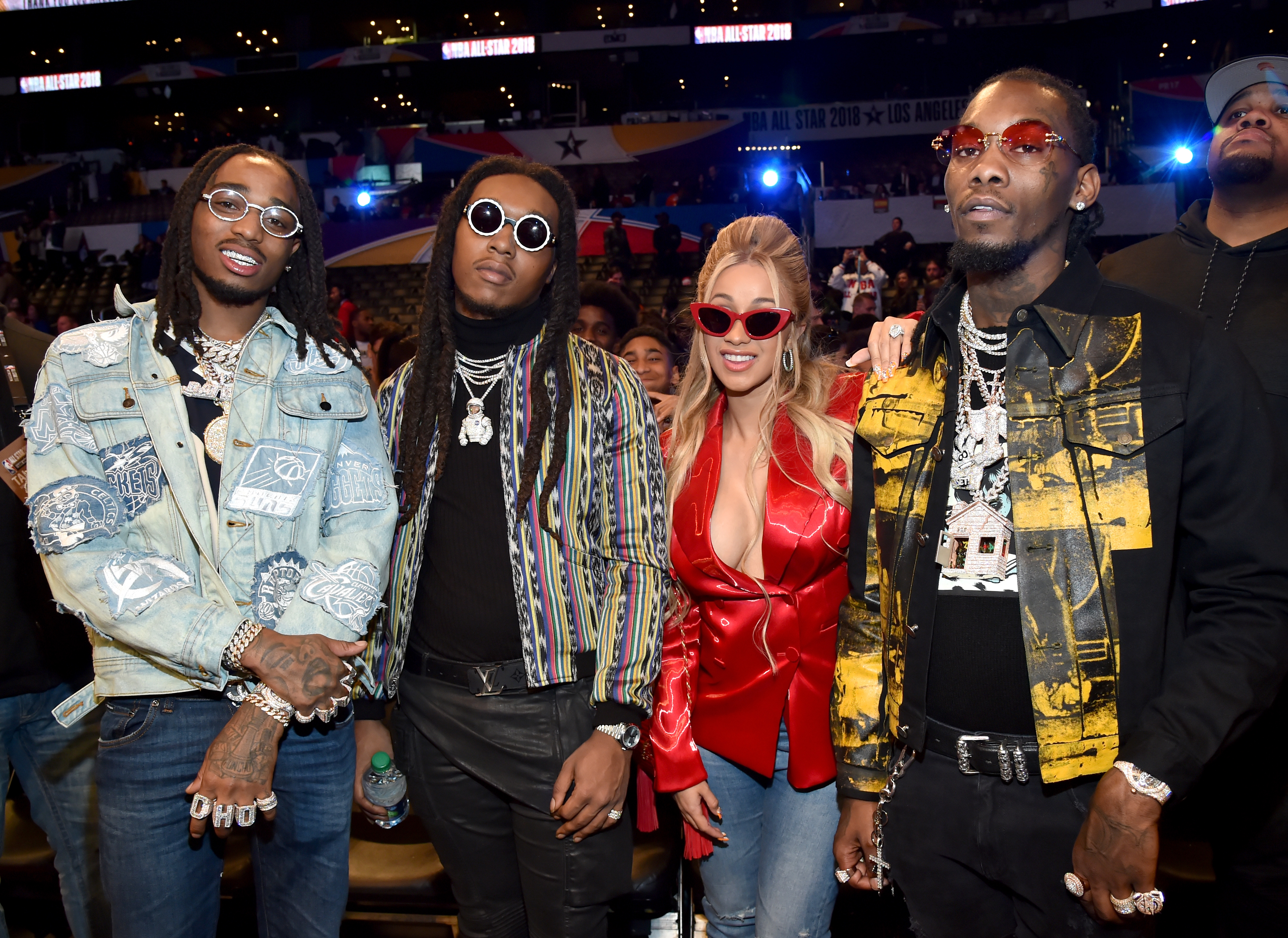 Quavo and Takeoff of Migos, Cardi B, and Offset of Migos attend the 67th NBA All-Star Game: Team LeBron Vs. Team Stephen at Staples Center on February 18, 2018 in Los Angeles