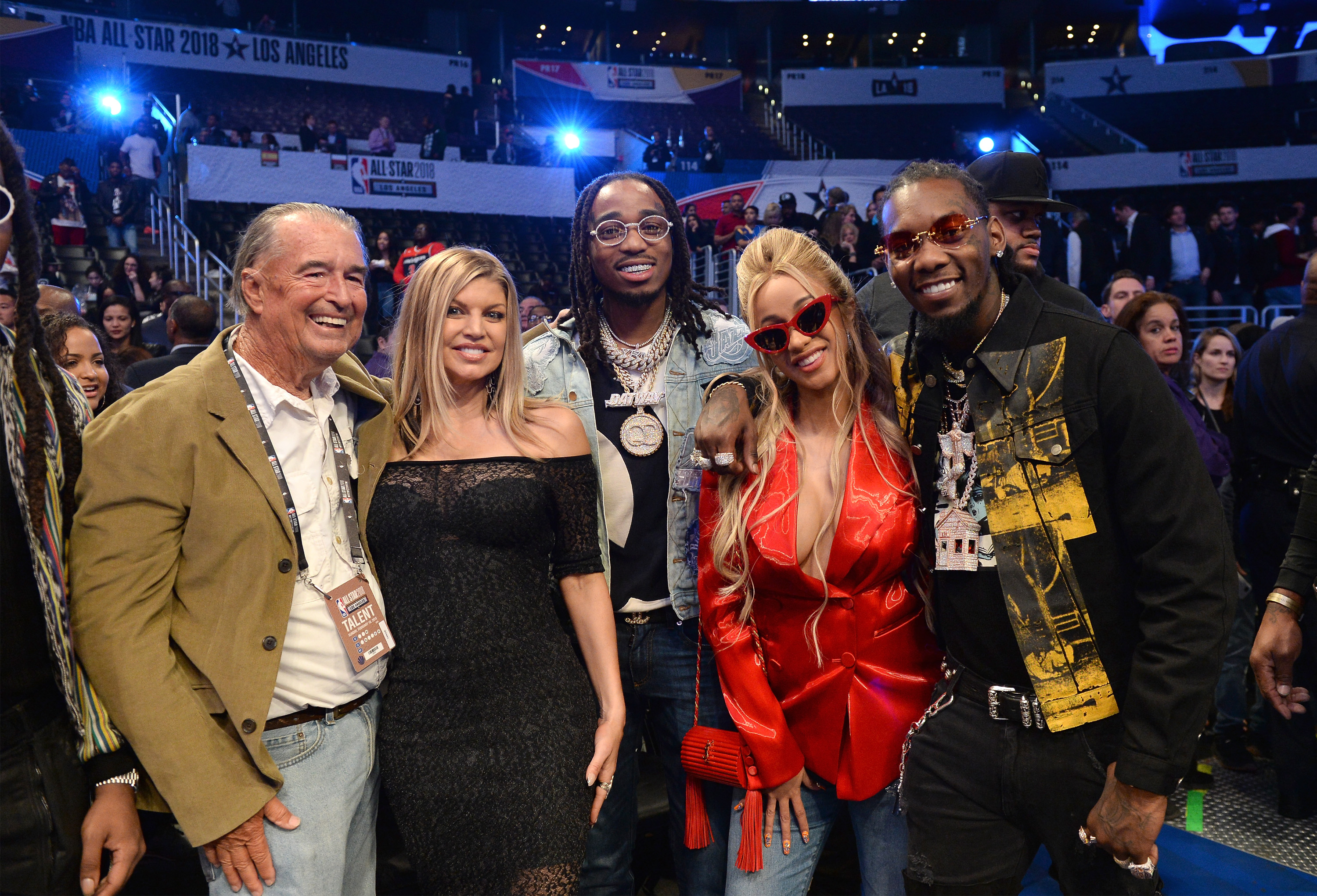 Jon Patrick Ferguson, Fergie, Quavo, Cardi B and Offset attend the NBA All-Star Game 2018 at Staples Center on February 18, 2018 in Los Angeles