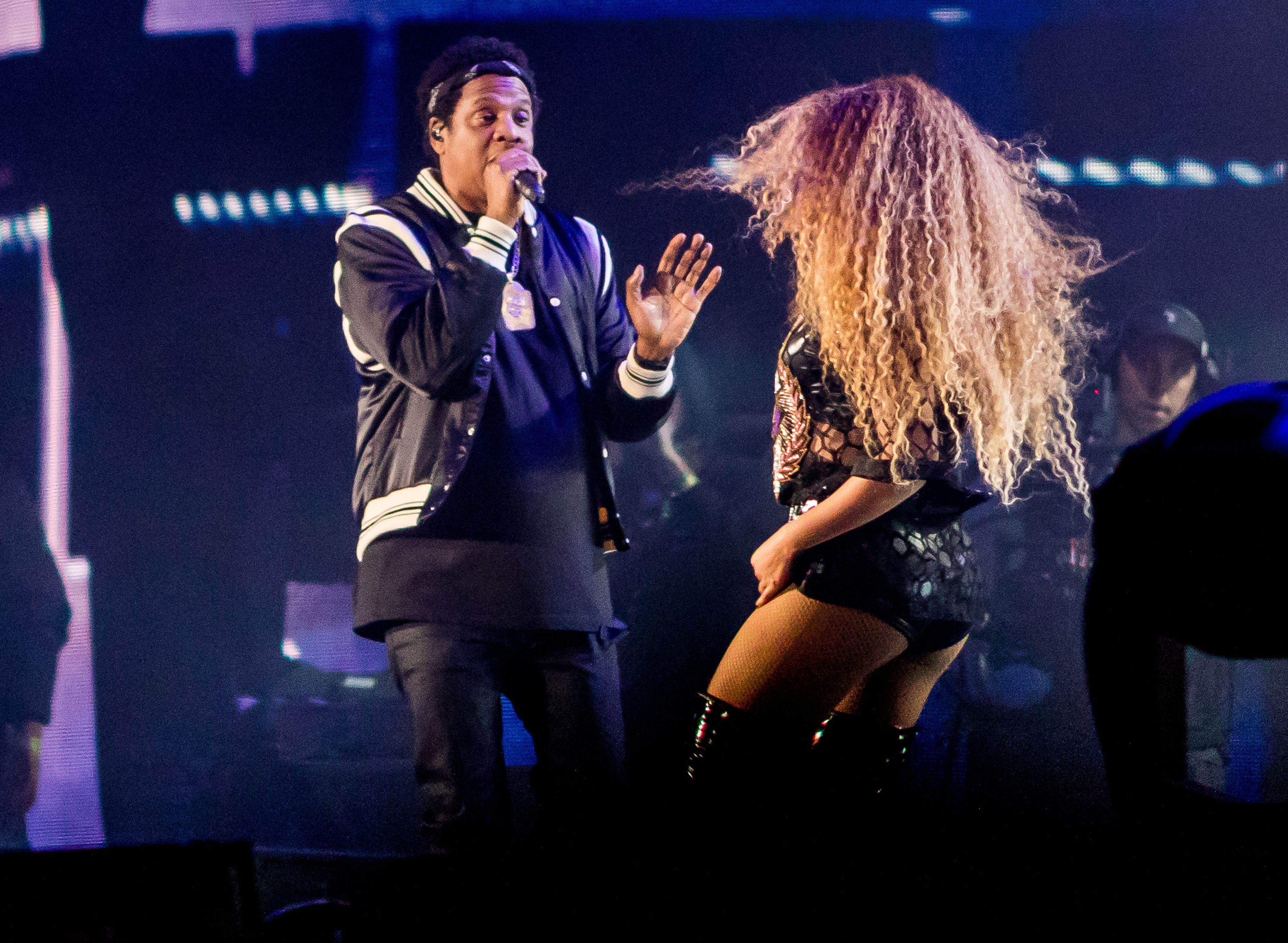 Beyonce performs with Jay-Z Saturday during the Coachella Music and Arts Festival in Indio, Calif