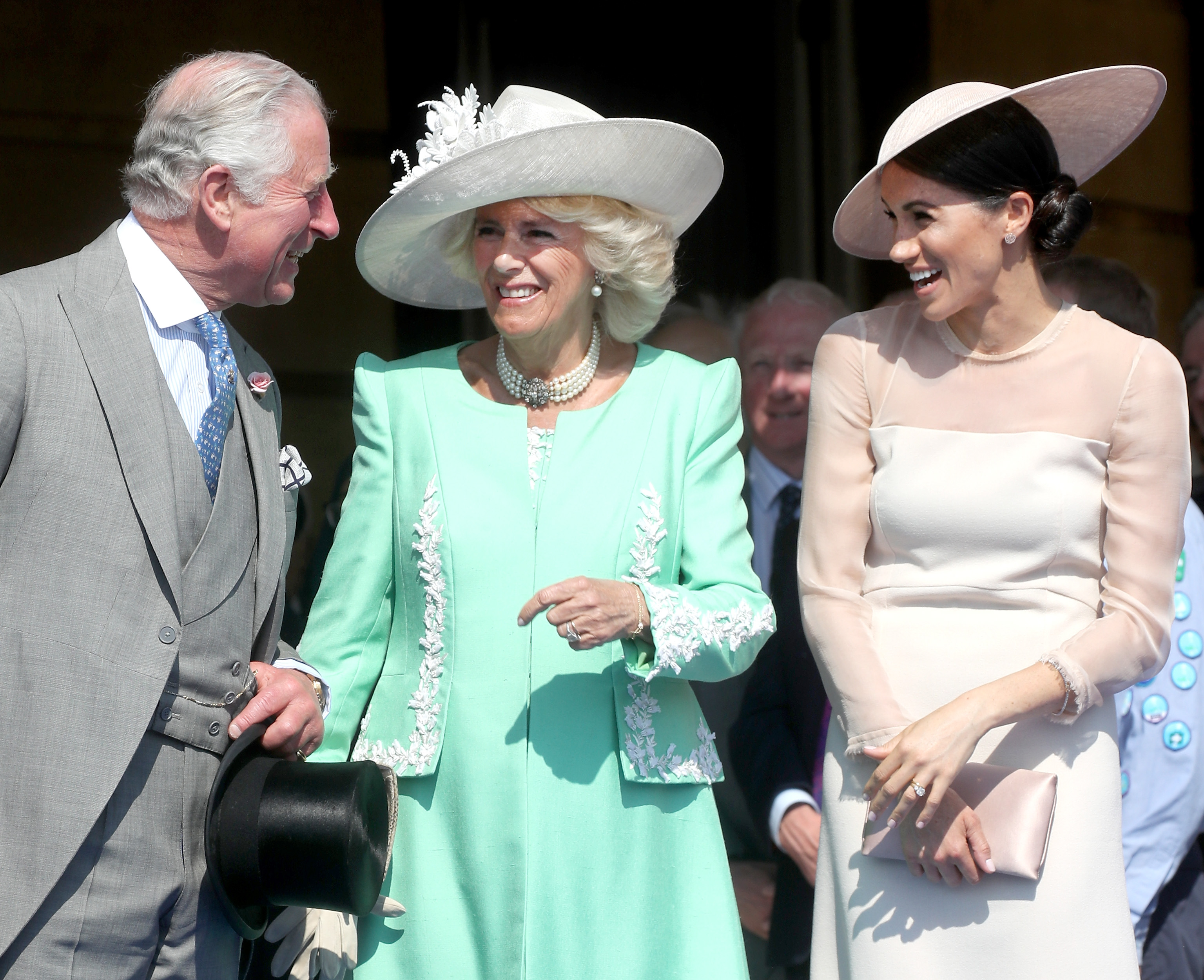 Prince Charles, Prince of Wales, Camilla, Duchess of Cornwall and Meghan, Duchess of Sussex attend The Prince of Wales' 70th Birthday Patronage Celebration held at Buckingham Palace on May 22, 2018 in London
