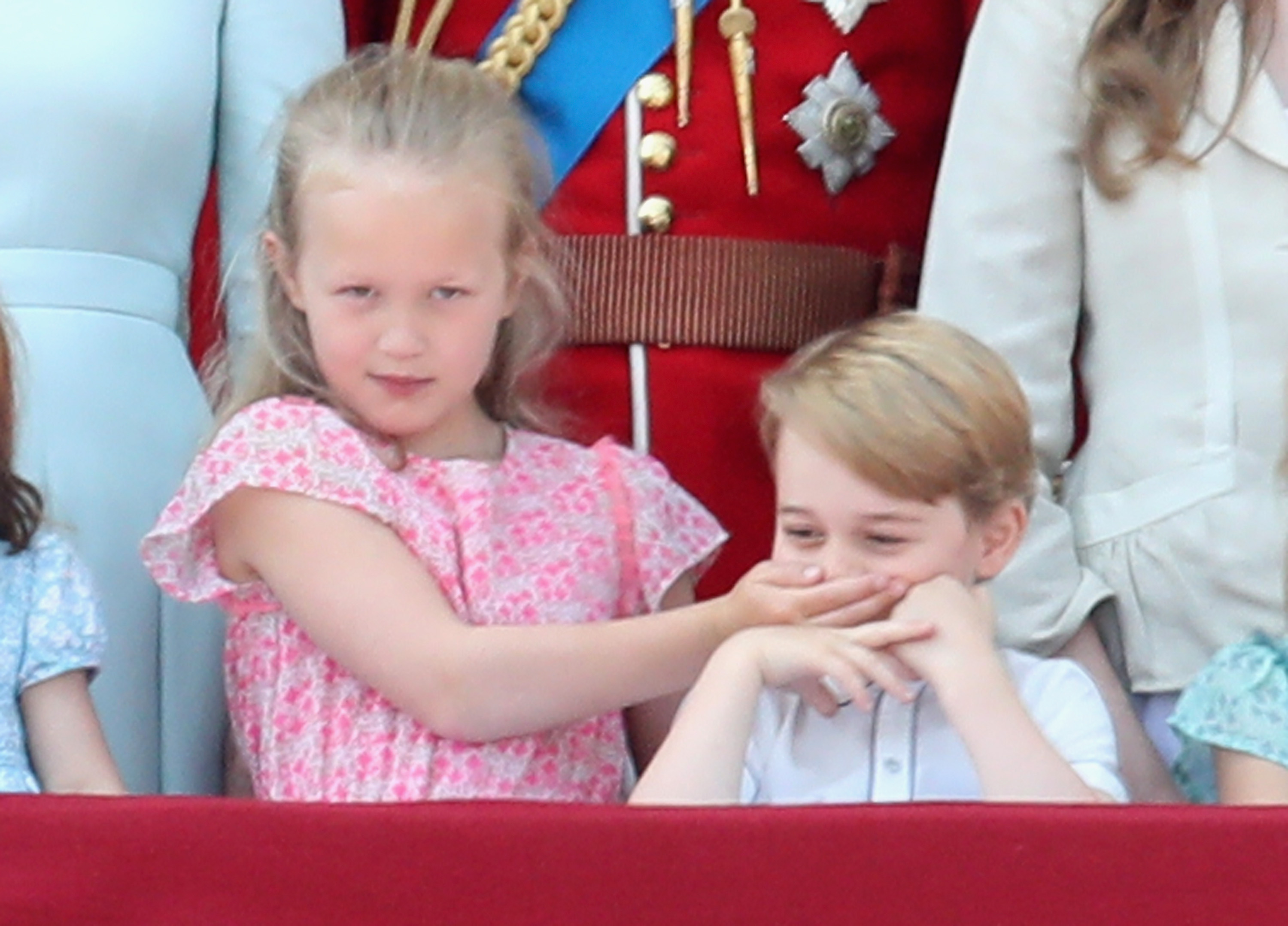 Prince-George-Gets-Adorably-Silenced-By-His-Cousin-At-Trooping-The-Colour