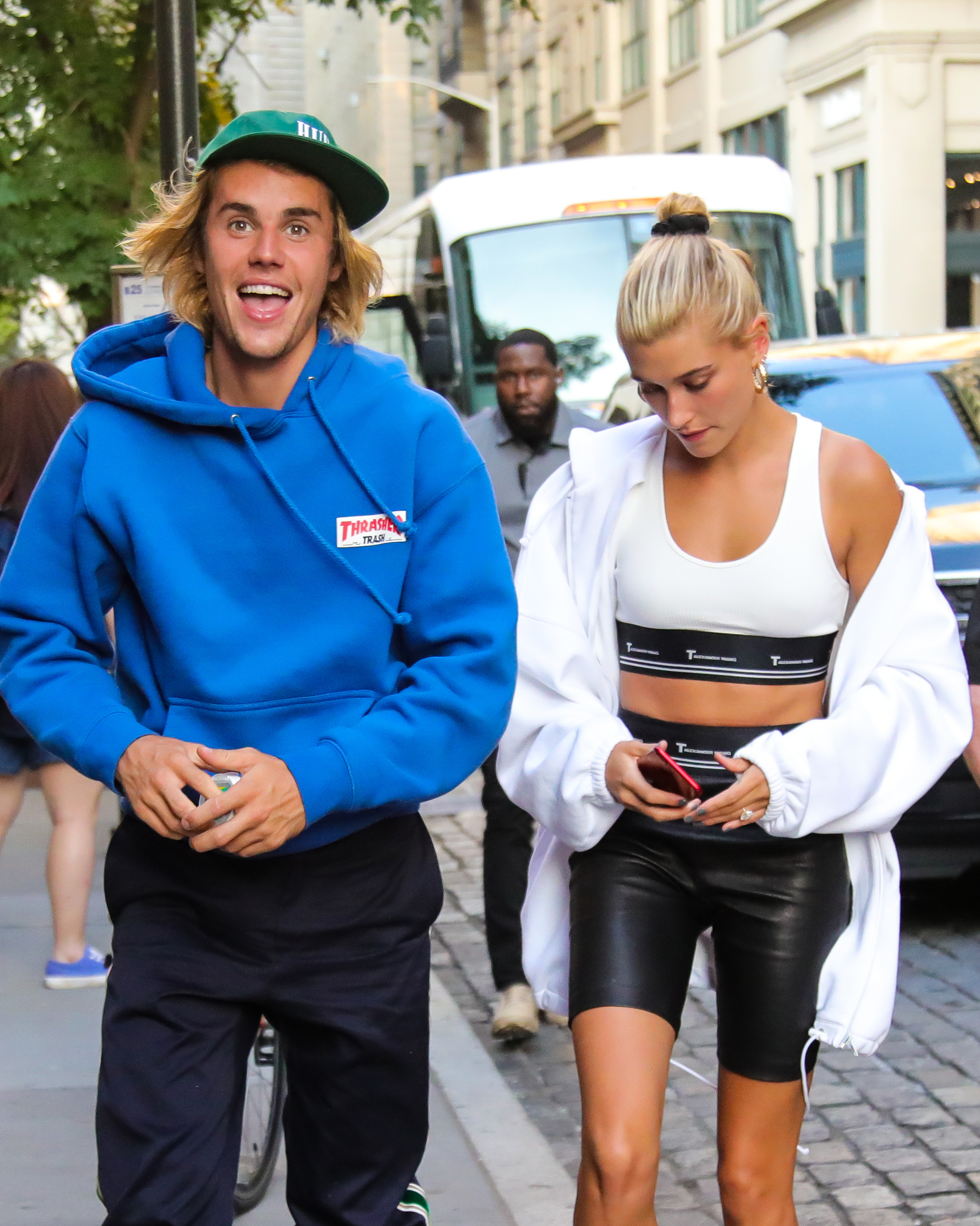 b3d43998a29f Hailey Baldwin and Justin Bieber Hold Hands   She Flashes Her Engagement  Ring In NYC