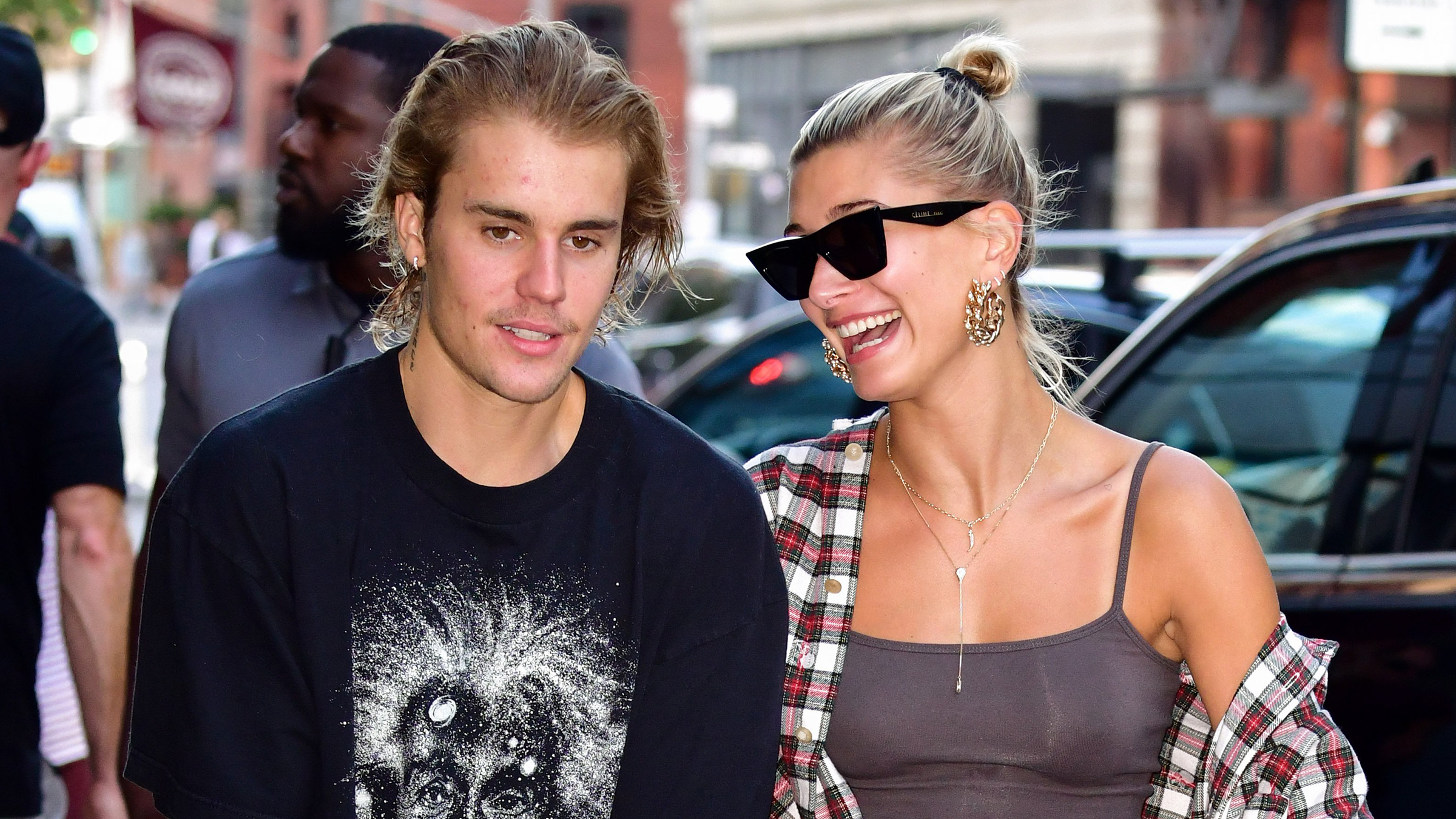 Justin Bieber and Hailey Baldwin visit Honeybrains on Lafayette Street on August 8, 2018 in New York City.