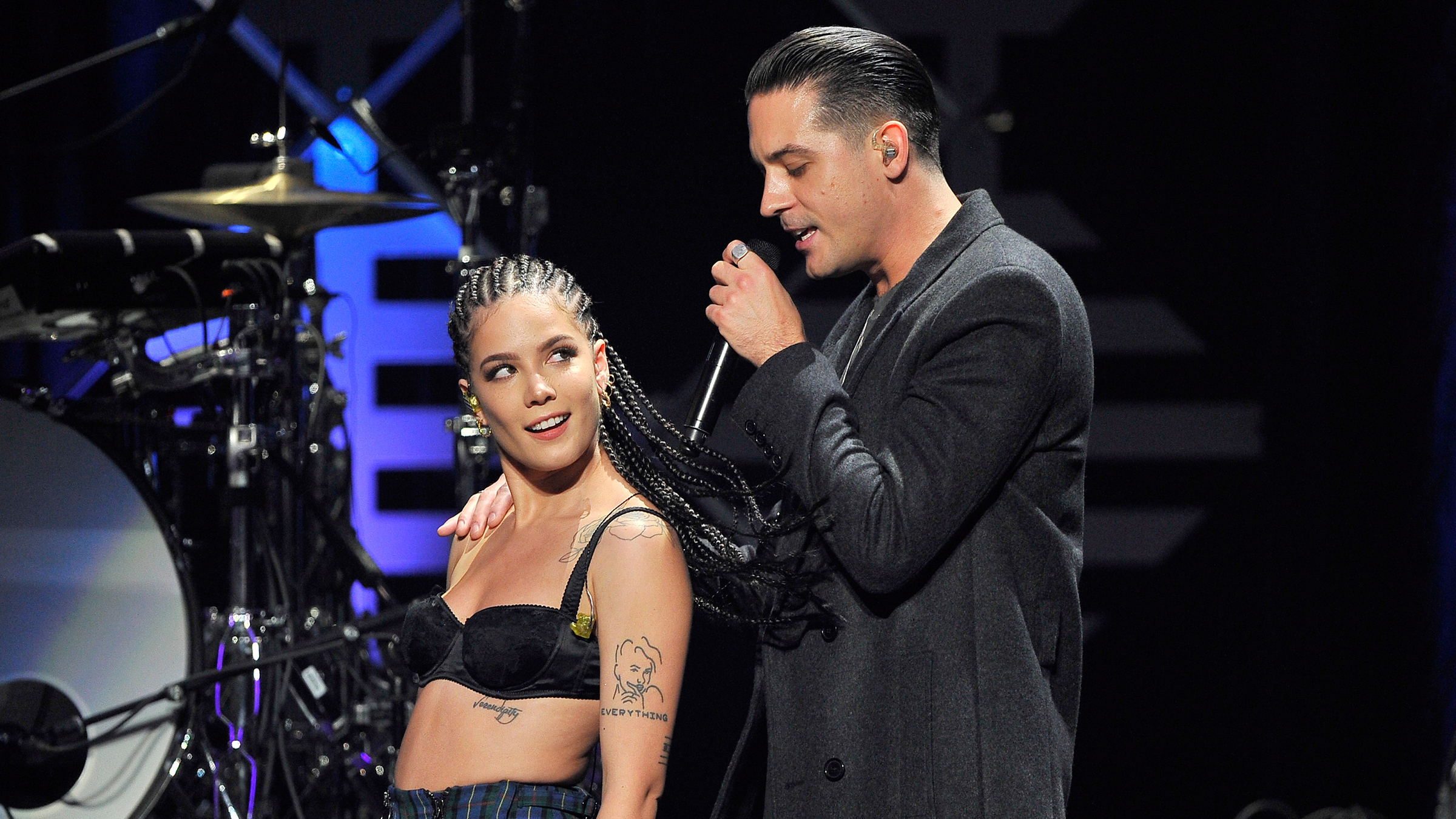 Halsey (L) and G-Eazy perform onstage at WiLD 94.9's FM's Jingle Ball 2017 Presented by Capital One at SAP Center on November 30, 2017 in San Jose, California.