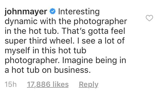 John Mayer's comment on Justin Bieber's Instagram post, July 2018