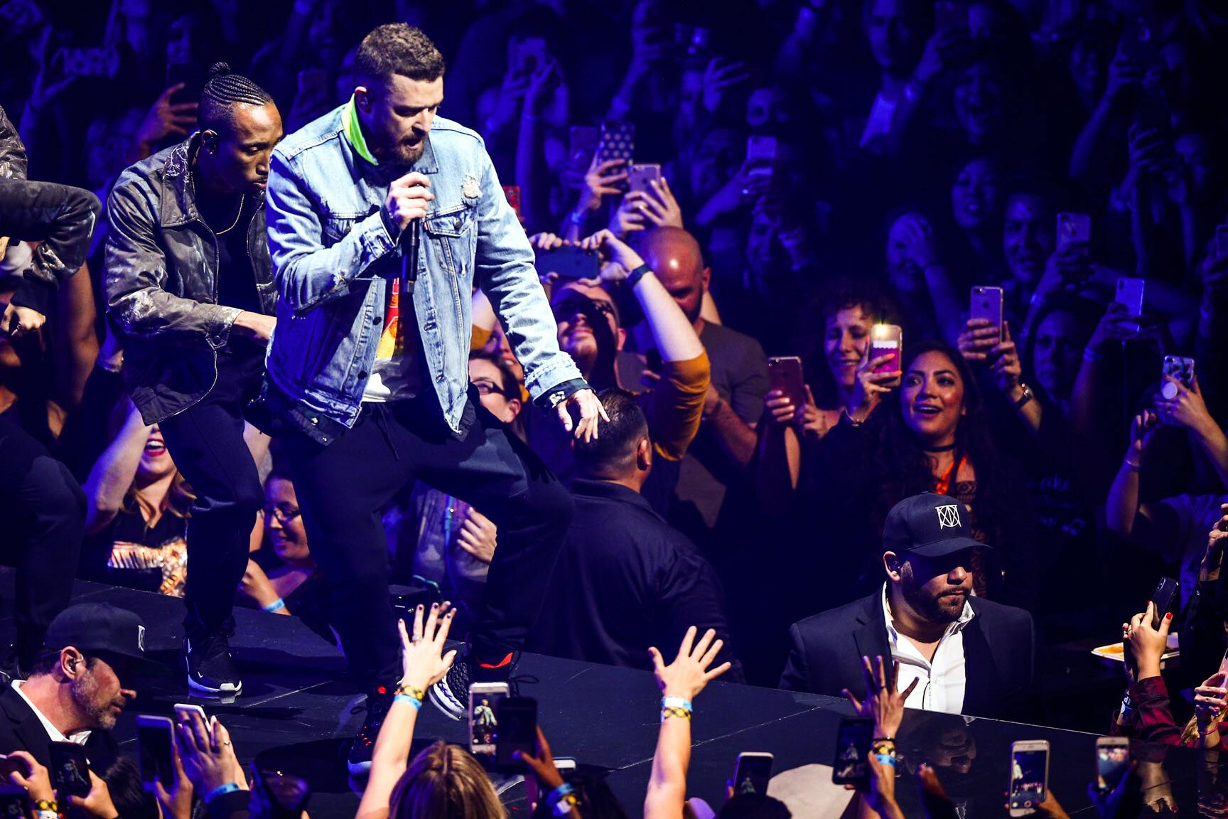 """Justin Timberlake performs during his """"Man of the Woods"""" tour at The Forum in Inglewood, Calif., on April 28, 2018"""