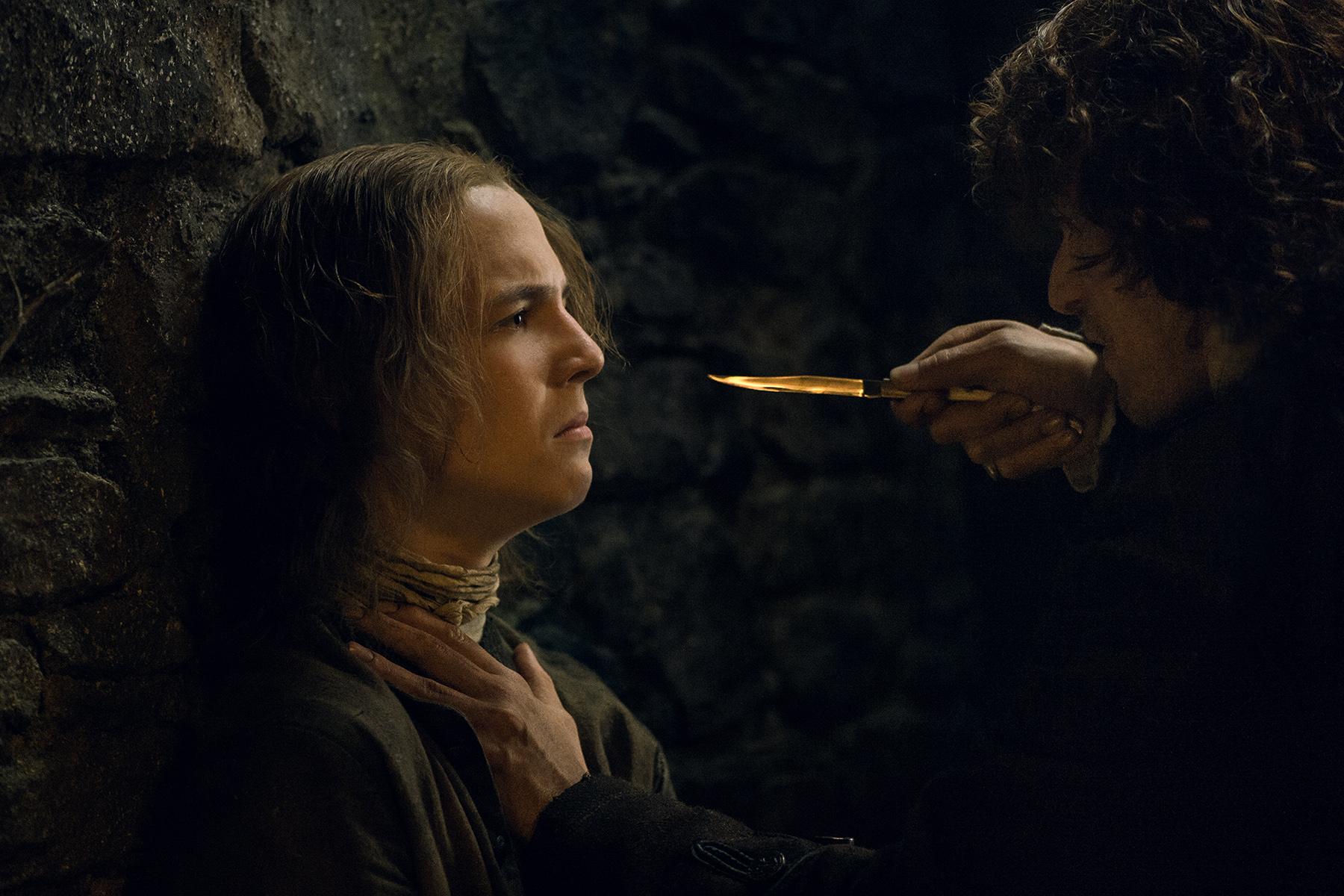 Oscar Kennedy as William Grey and Sam Heughan as Jamie Fraser in 'Outlander' Season 2, Episode 9 — 'Je Suis Prest'