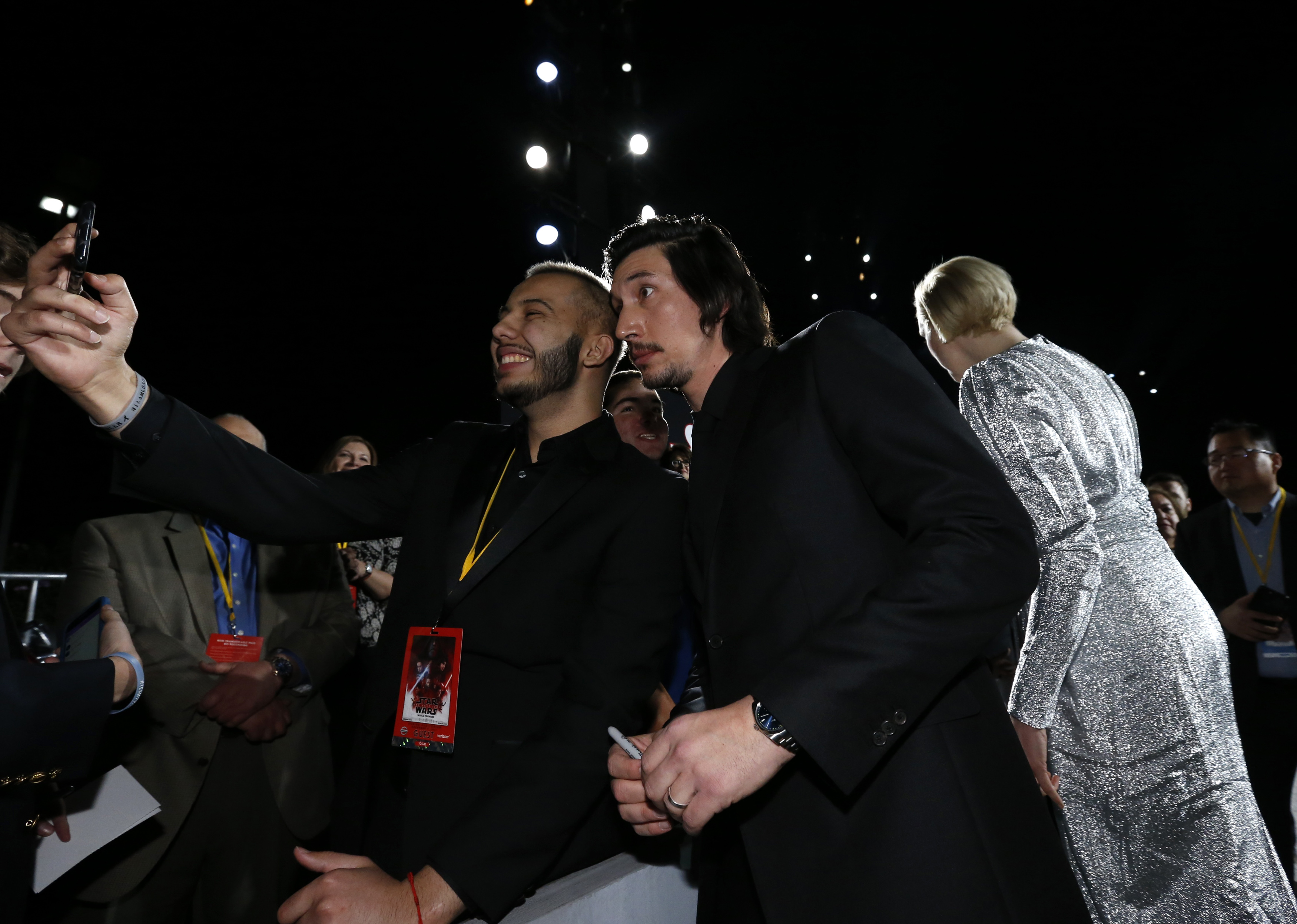 STAR WARS THE LAST JEDI Los Angeles Premiere Adam Driver- Shannon McNabb – Tyler Woodwood Make a wish guests