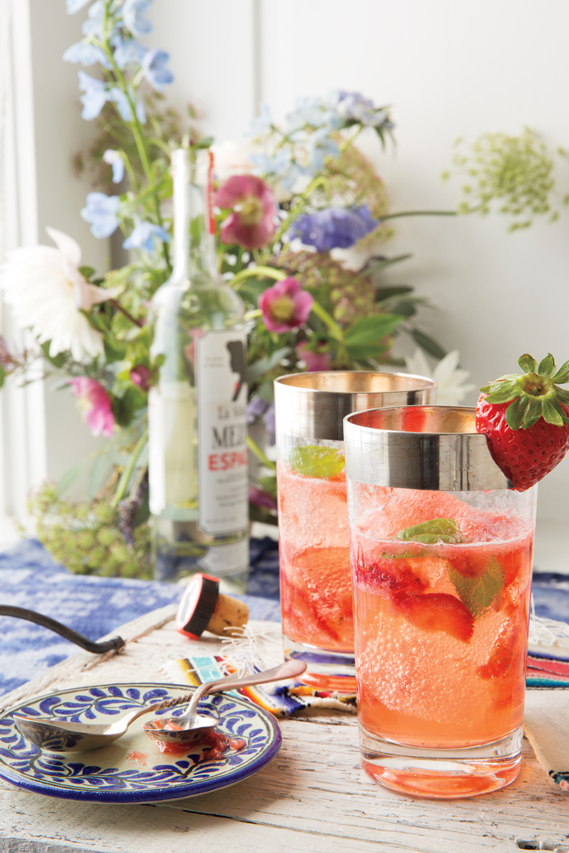 Strawberry and Thai Basil Mojito from 'Casa Marcela' by Marcela Valladolid and Coral Von Zumwalt. Copyright © 2017 by Marcela Valladolid and Coral Von Zumwalt. Used by permission of Houghton Mifflin Harcourt. All rights reserved.