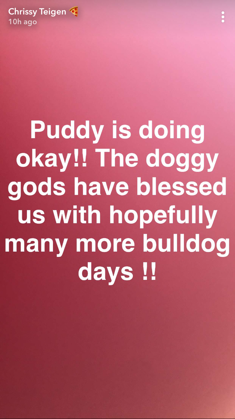 Chrissy updates everyone on Puddy's health