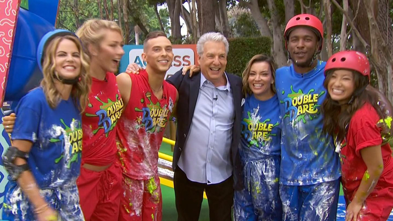 Adam-Rippon-and-Mikaela-Shiffrin-Get-Slimed-On-The-Double-Dare-Course-On-Access-Live-See-Them-In-Action