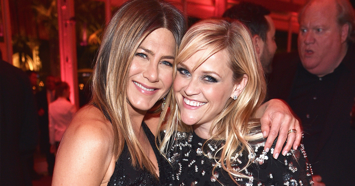 Jennifer Aniston and Reese Witherspoon attend the 2017 Vanity Fair Oscar Party hosted by Graydon Carter at Wallis Annenberg Center for the Performing Arts on February 26, 2017 in Beverly Hills