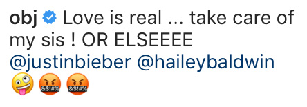 Odell Beckham Jr's comment on Justin Bieber's Instagram post, July 2018