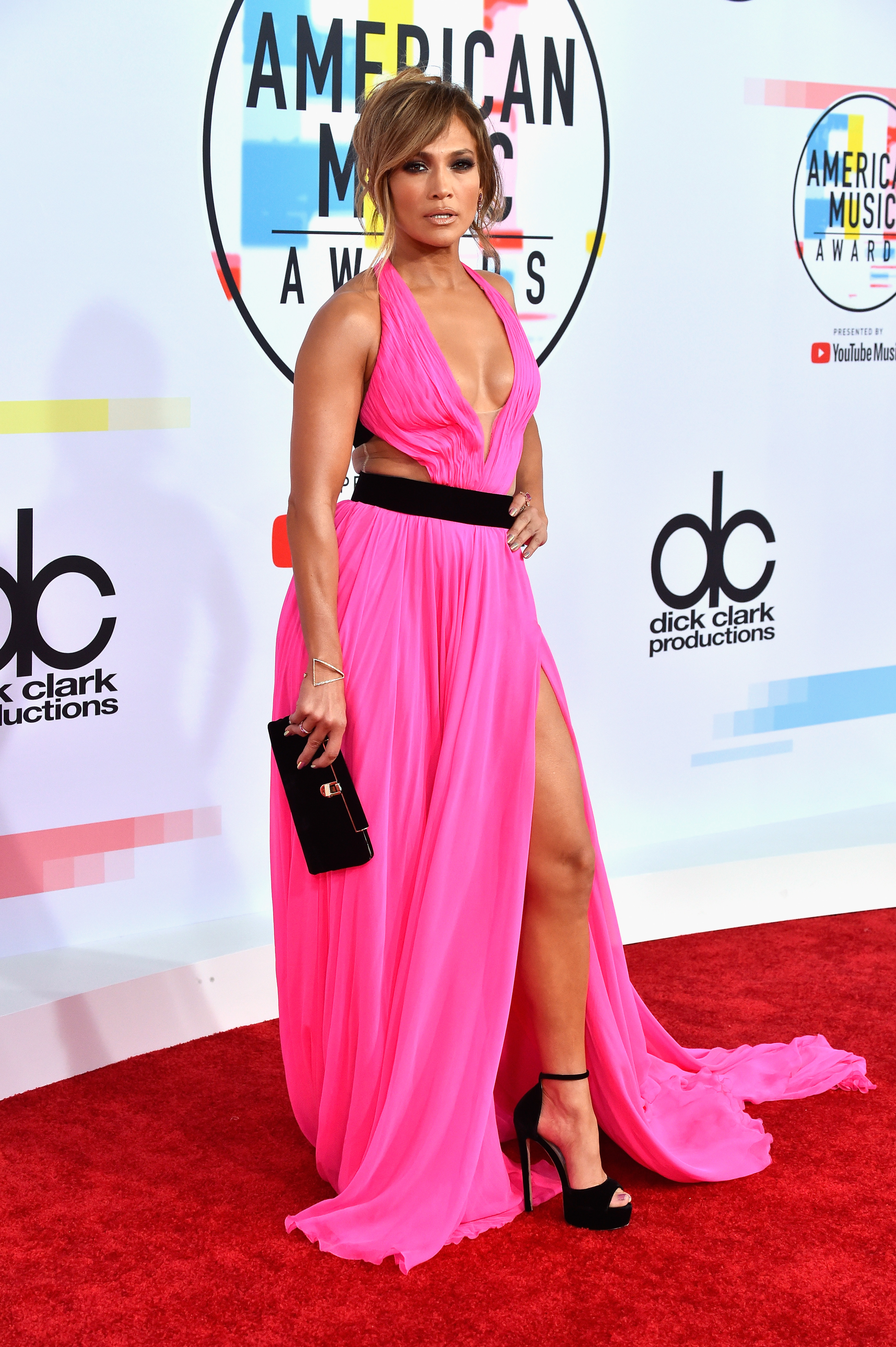 jennifer lopez is a total smokeshow in a hot pink dress at