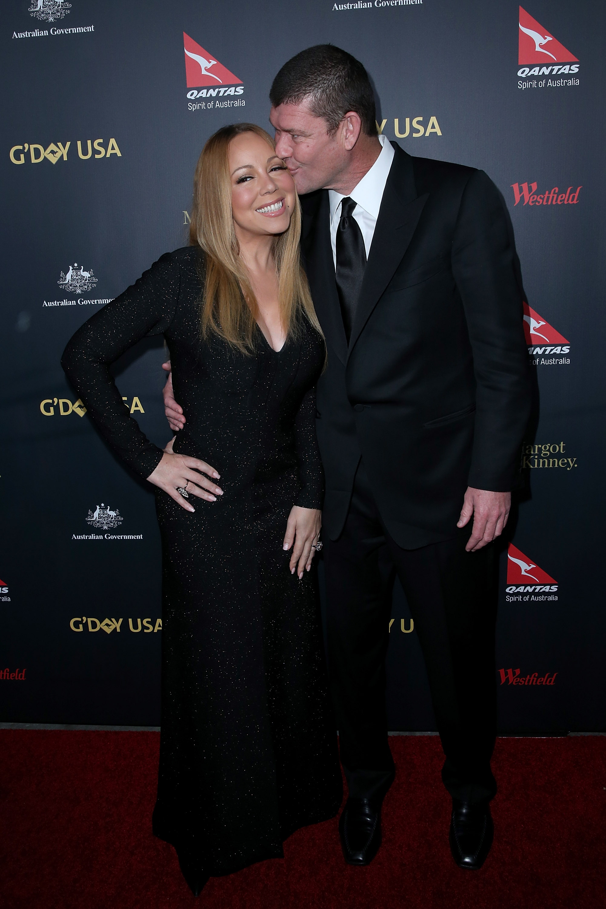 Mariah Carey and fiance James Packer arrive at the 2016 G'Day Los Angeles Gala at Vibiana on January 28, 2016 in Los Angeles.