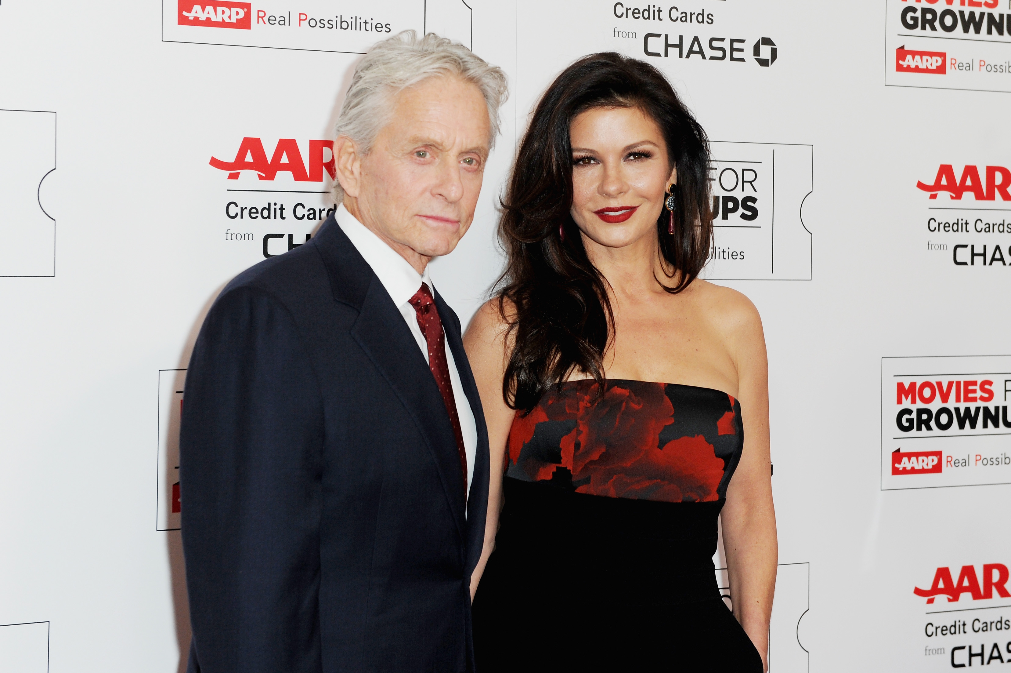 Michael Douglas and Catherine Zeta-Jones attend AARP's 15th Annual Movies For Grownups Awards at the Beverly Wilshire Four Seasons Hotel on February 8, 2016 in Beverly Hills