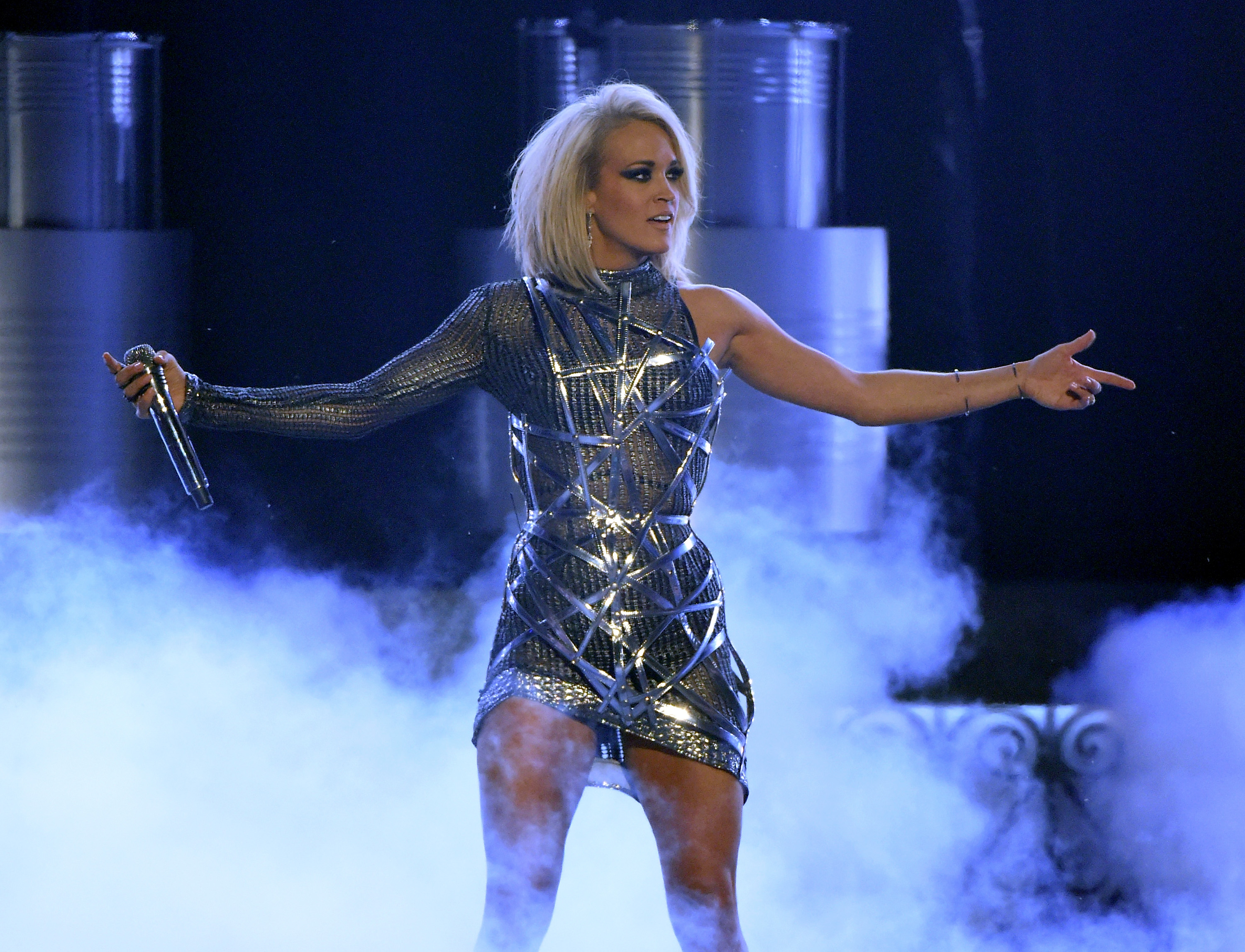 Carrie Underwood performs during the 51st Academy of Country Music Awards at MGM Grand Garden Arena on April 3, 2016 in Las Vegas