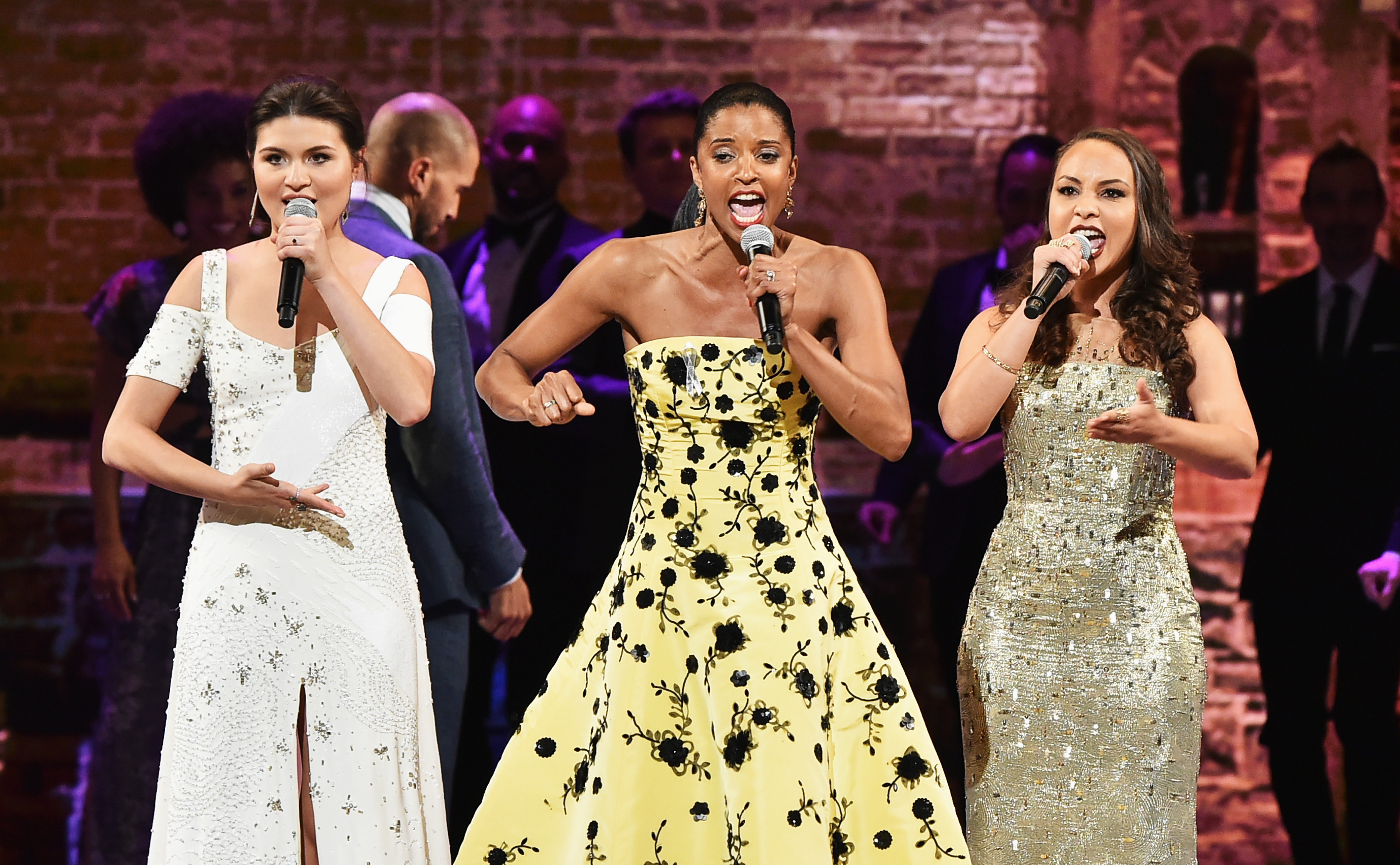 Phillipa Soo, Renee Elise Goldsberry and Jasmine Cephas Jones perform onstage during the 70th Annual Tony Awards at The Beacon Theatre on June 12, 2016 in New York City